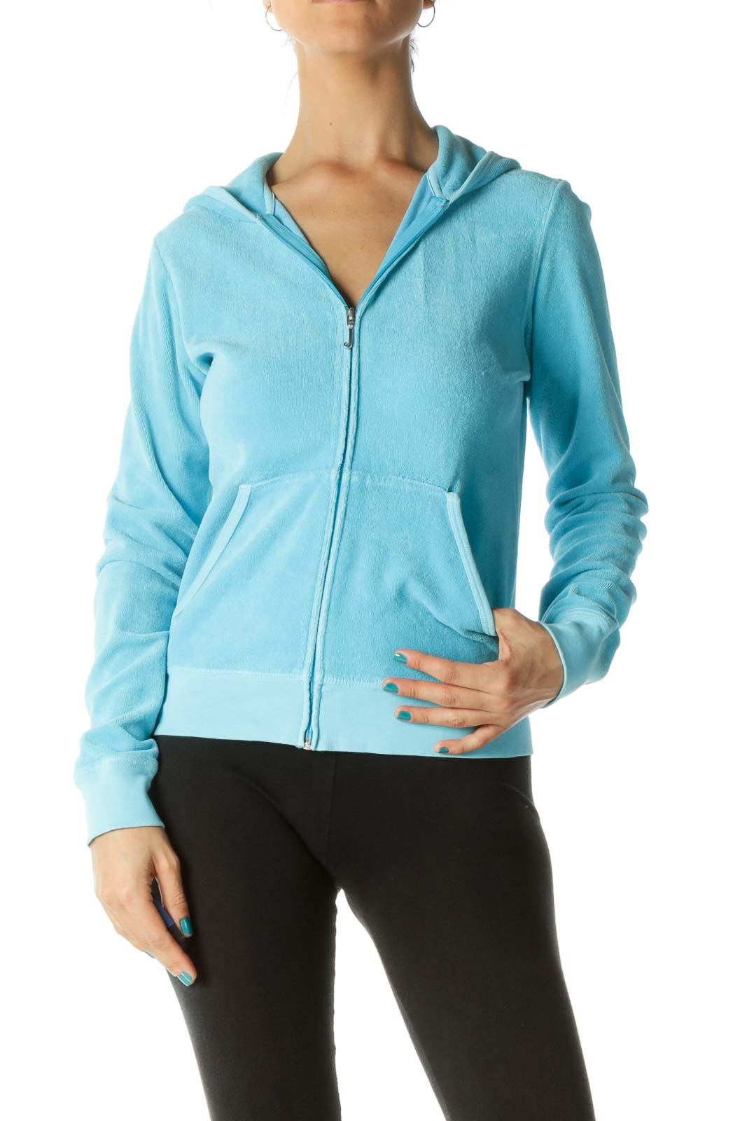 Light Blue Hooded Fitted Track Jacket