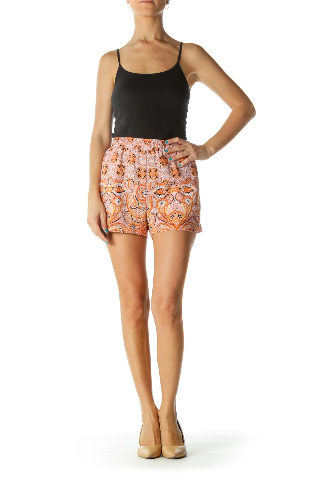 Pink Orange Black Printed Shift Shorts