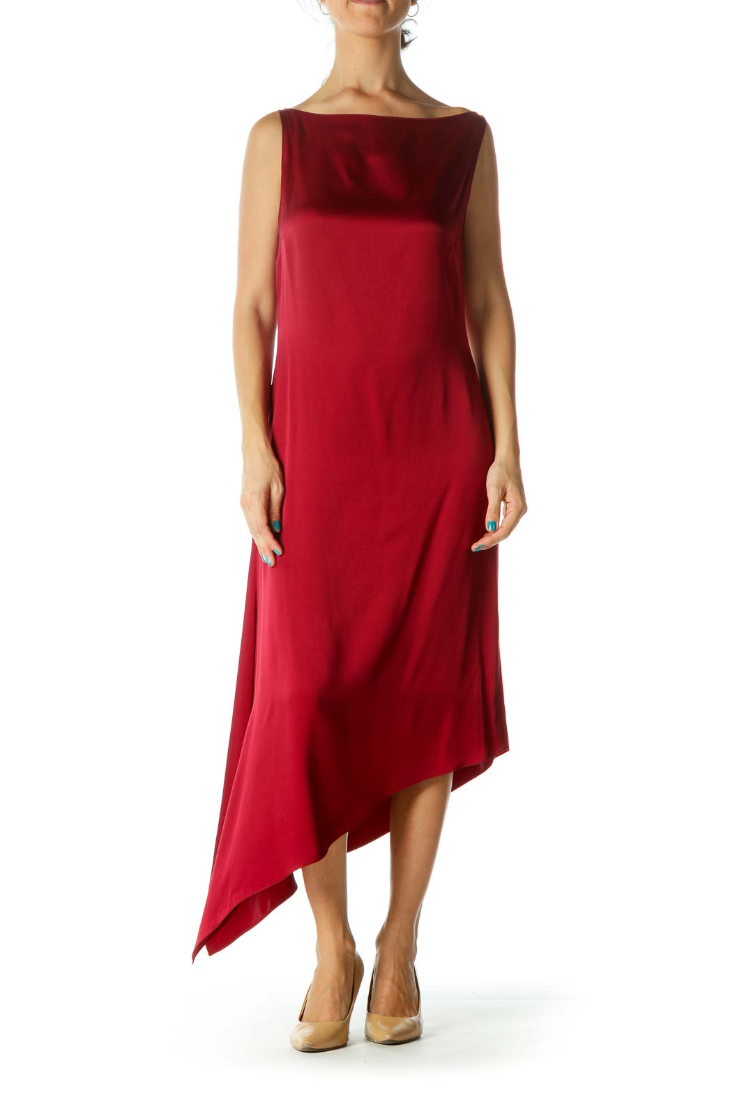 Red Silk Asymmetric Dress