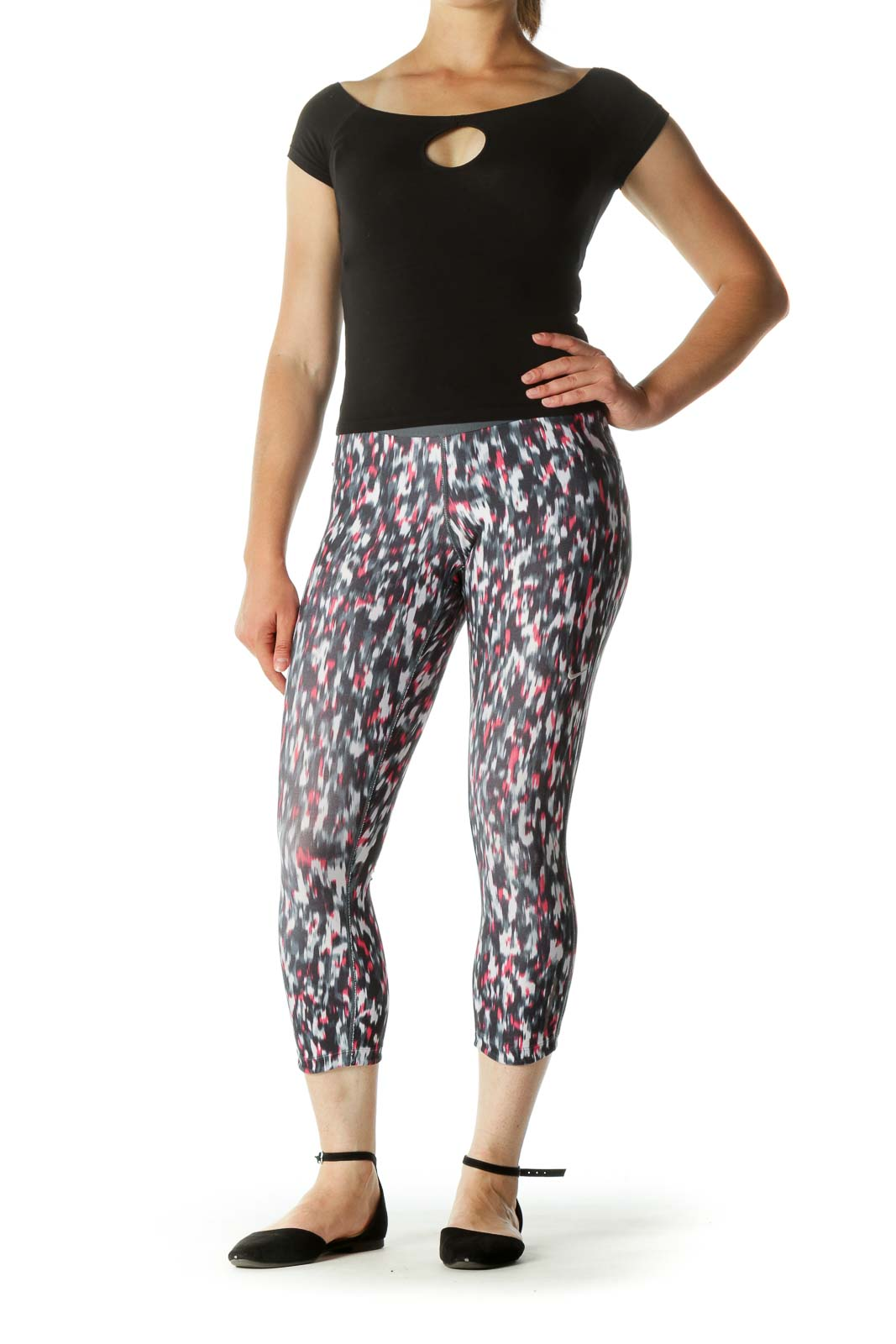 Black Gray Pink Print Inside Drawstring Active Pants
