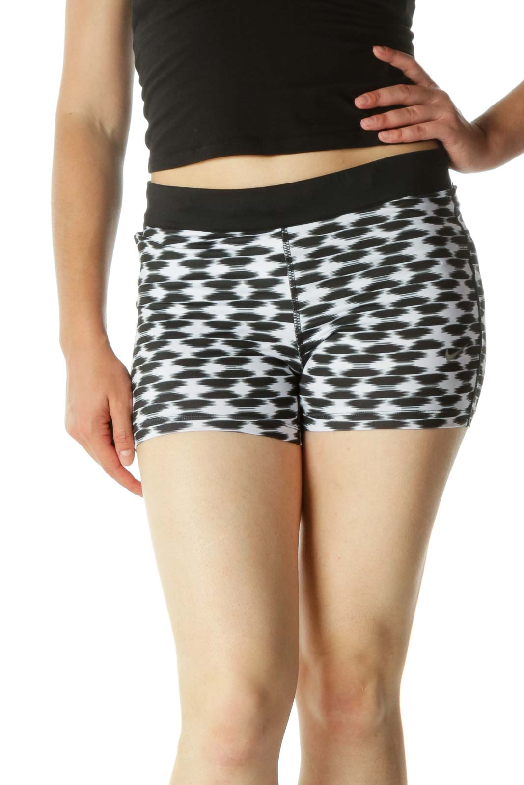 Black & White Elastic Band Pocketed Sports Short