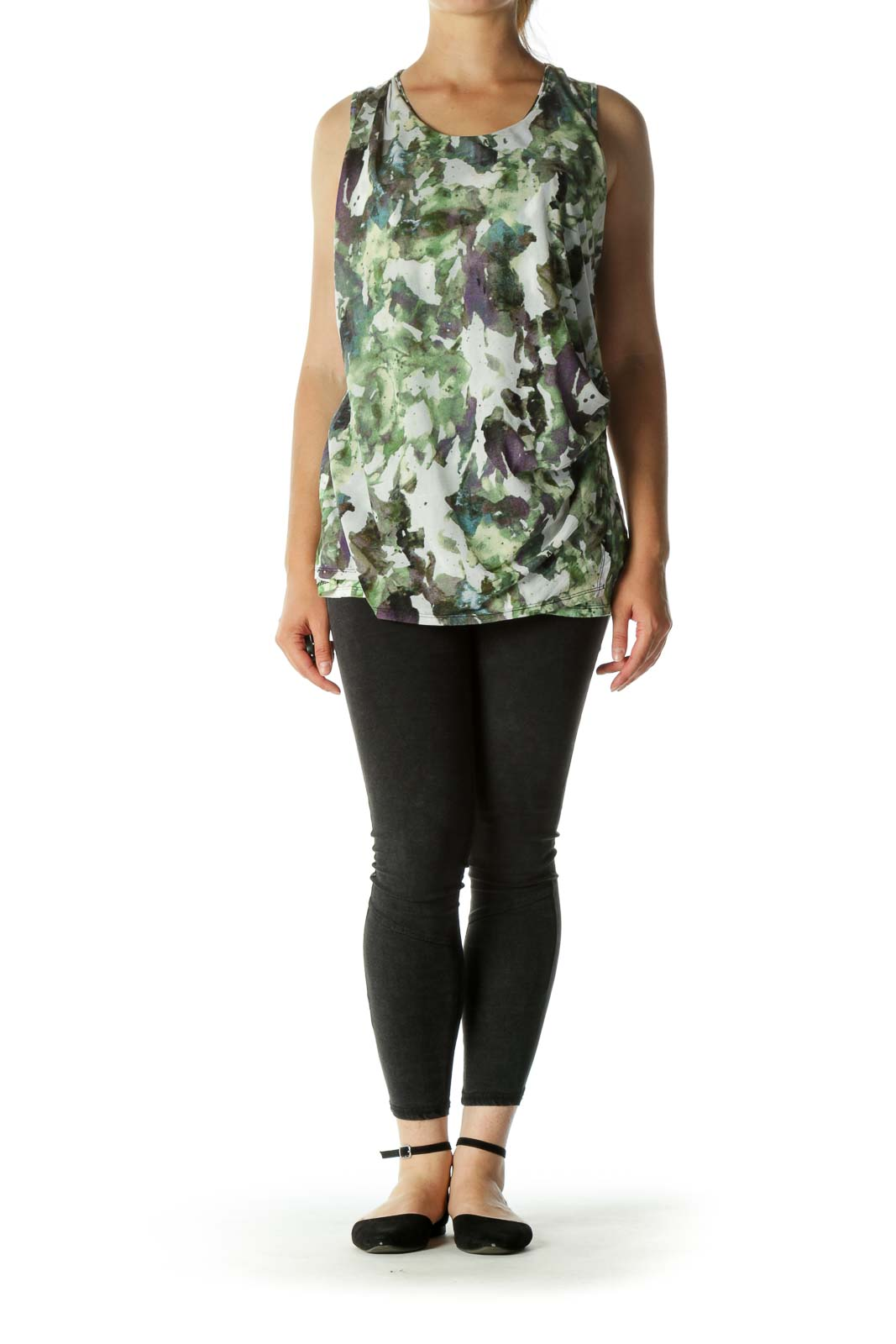 Green Pattern Ruched Tank Top