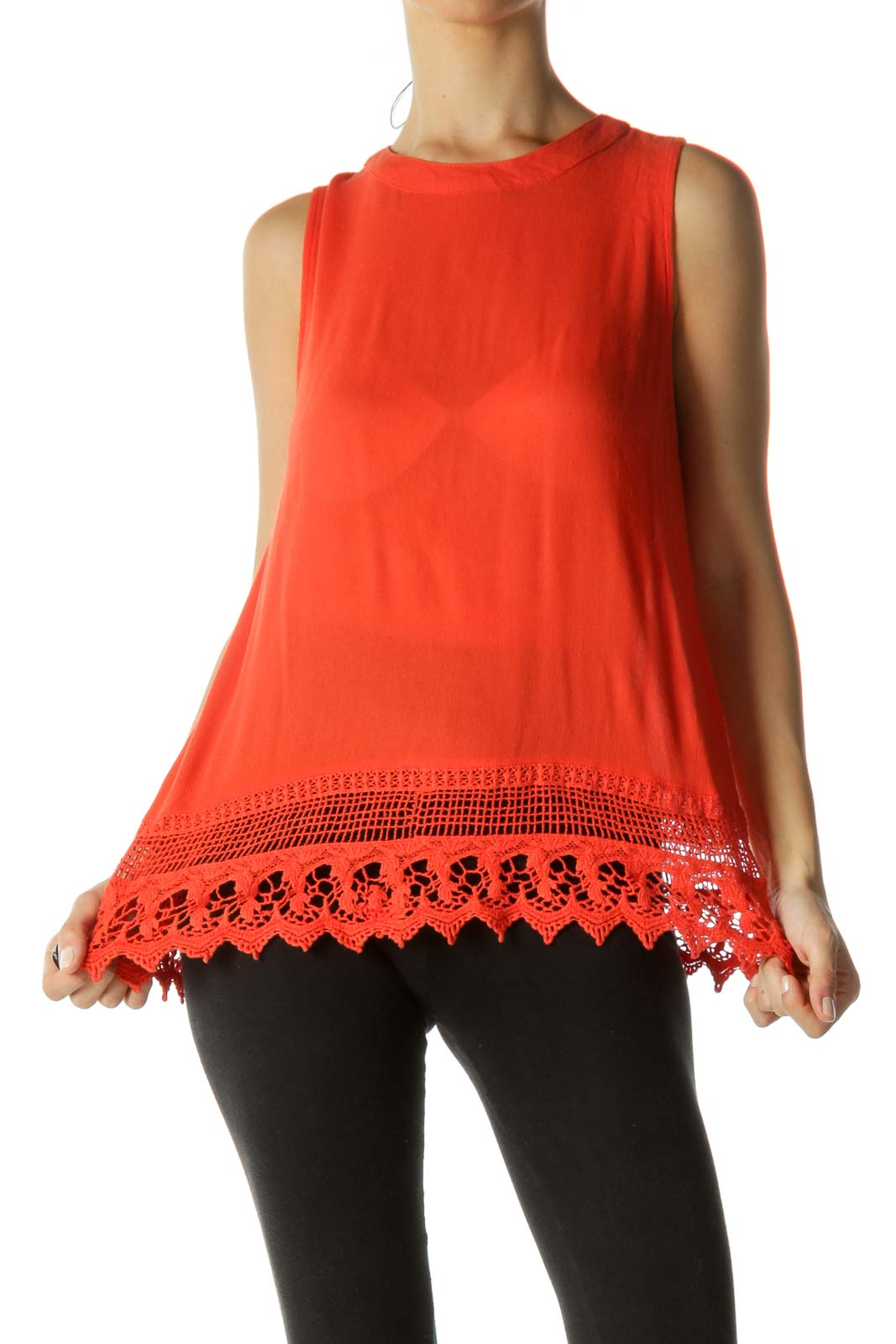 Orange Crocheted Tank Top
