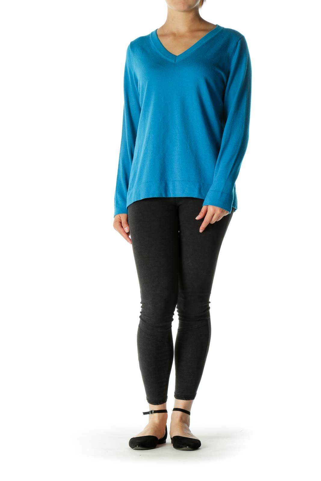Blue Blend Wool V-Neck Knit Top