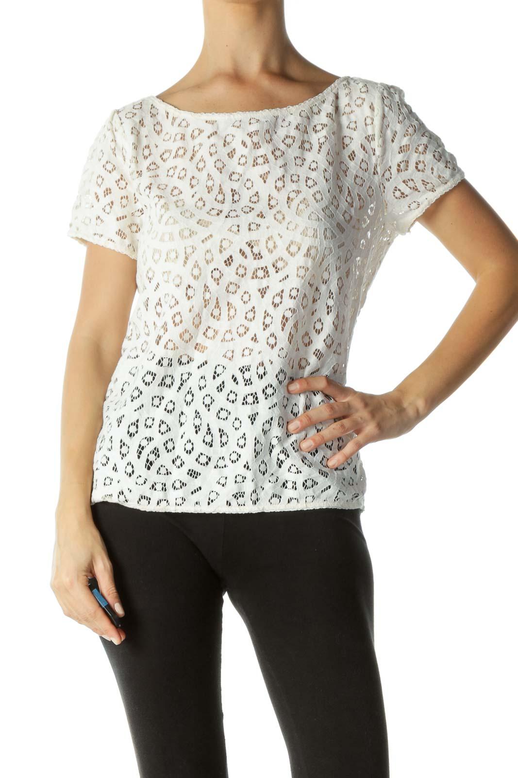 White Crocheted T-shirt