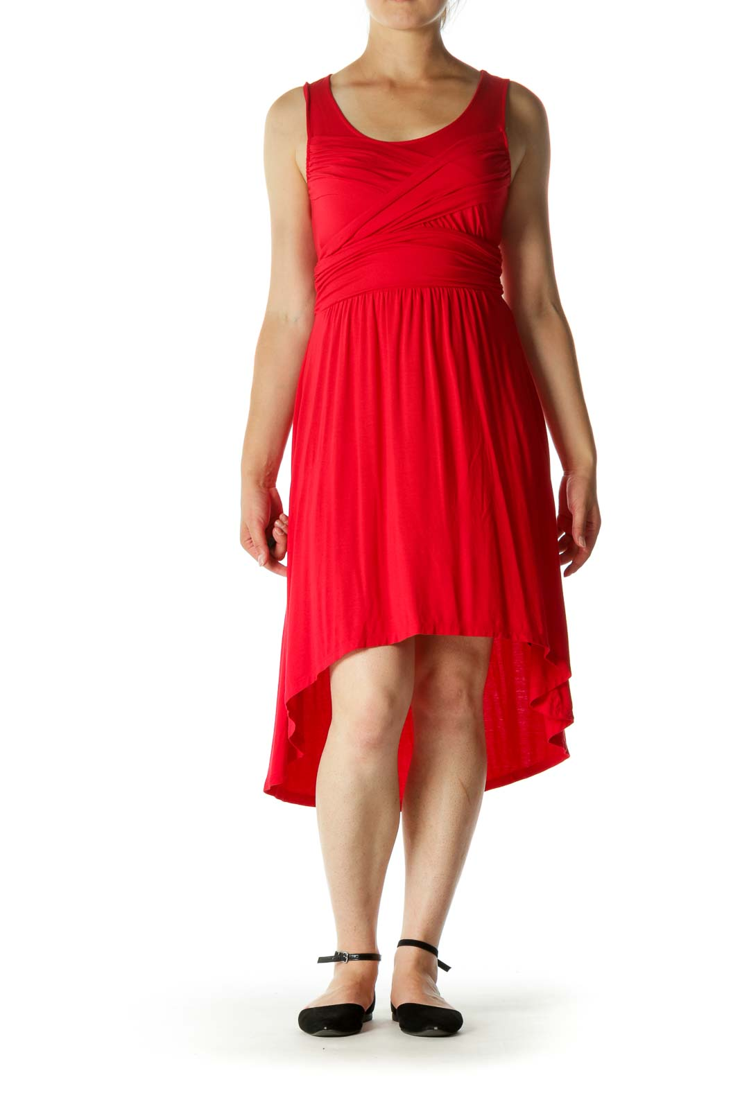Red Wrap Detail Jersey-Knit High-Low Stretch Day Dress