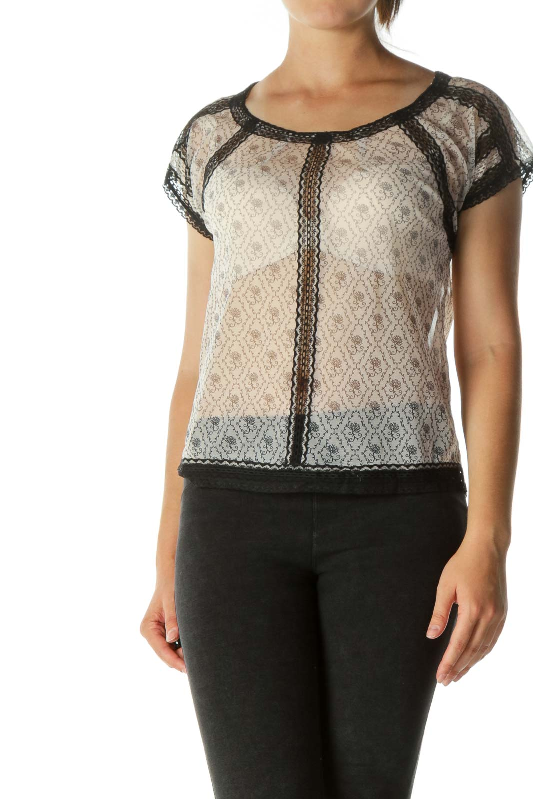 Black & White See-through Lace Blouse