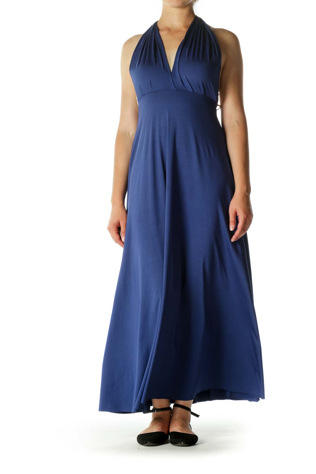 Blue Empire Cut Stretch Evening Dress