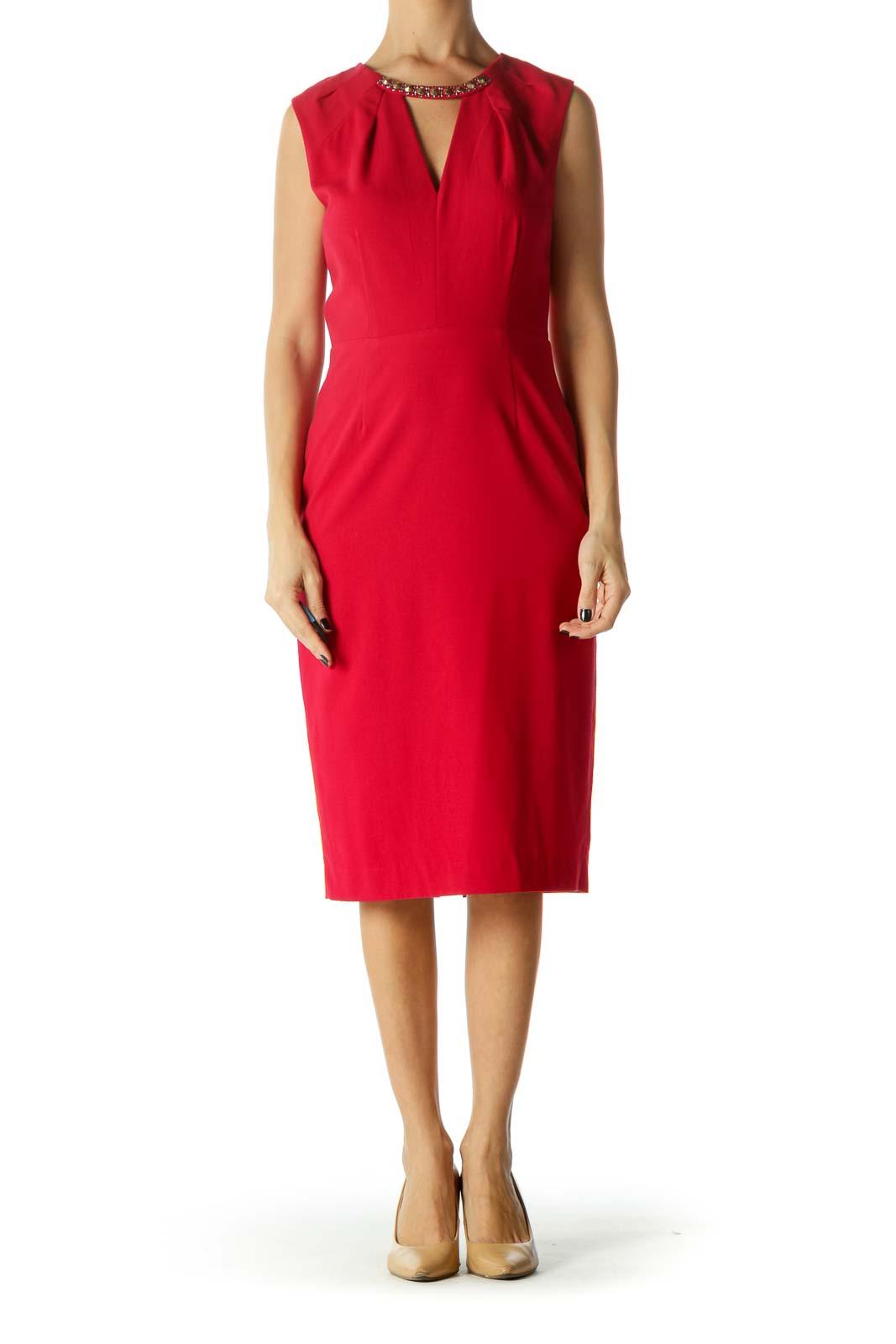 Red Embellished Neckline V-Neck Keyhole Work Dress