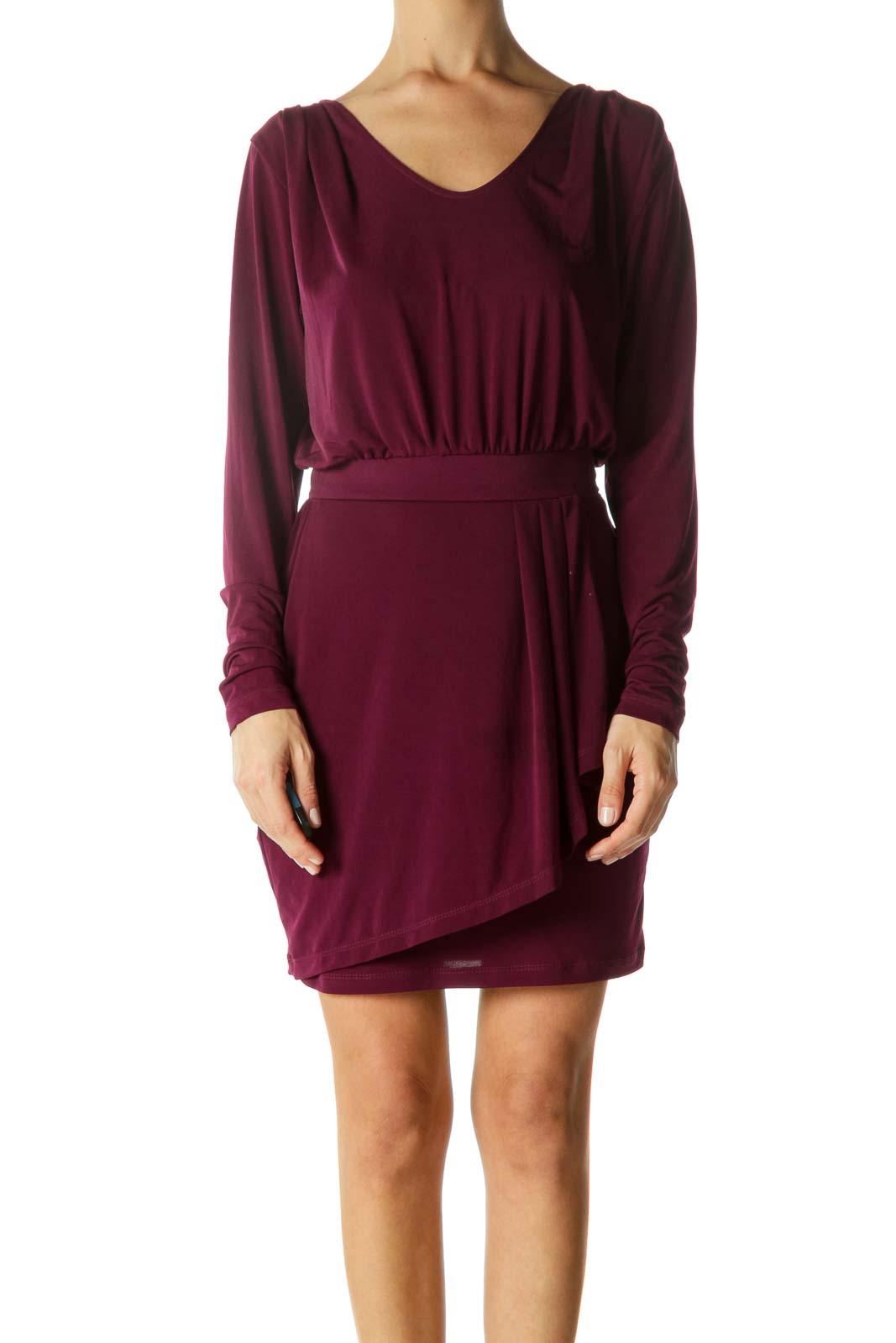 Purple Round Neck Cinched-Waist Stretch Cocktail Dress