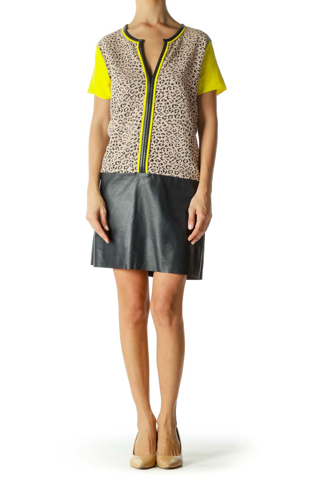 Beige Black Yellow Animal Textured Knit Contrasting Piping Mixed-Media Dress