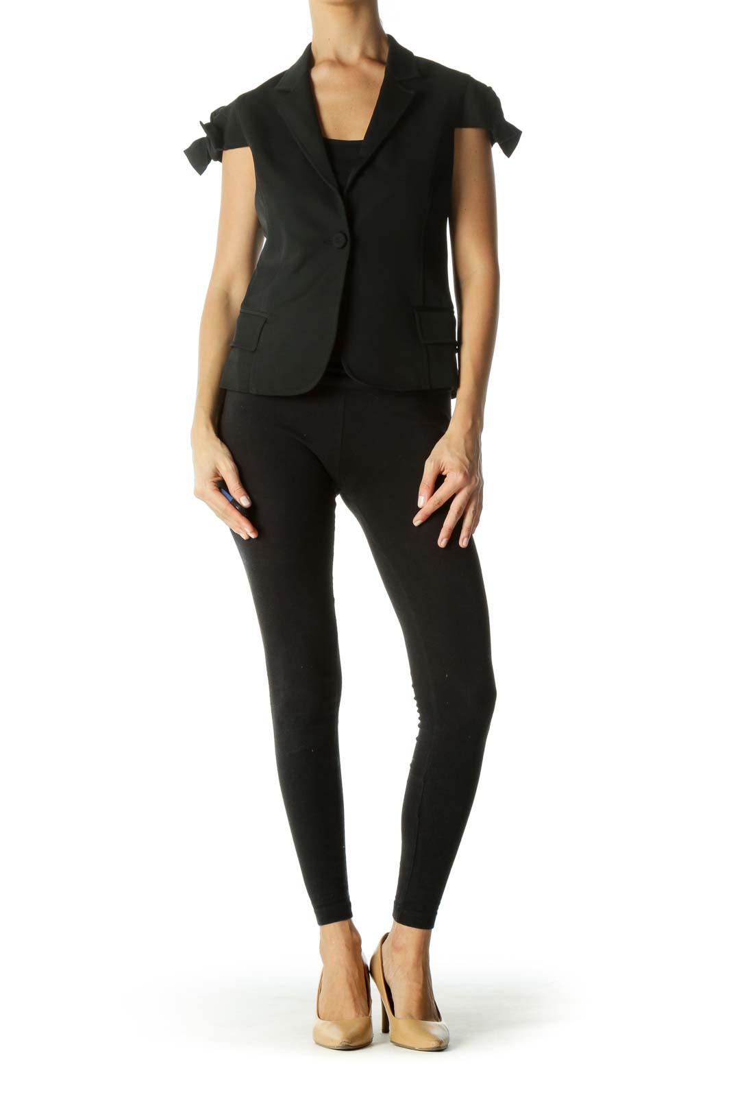 Black Bow Sleeves Detail Short Sleeve Blazer