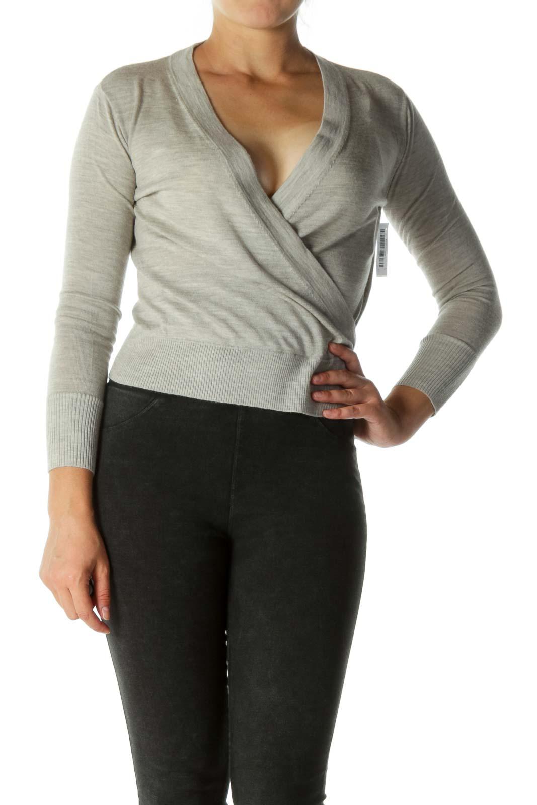 Gray Wool Wrap Knit Top