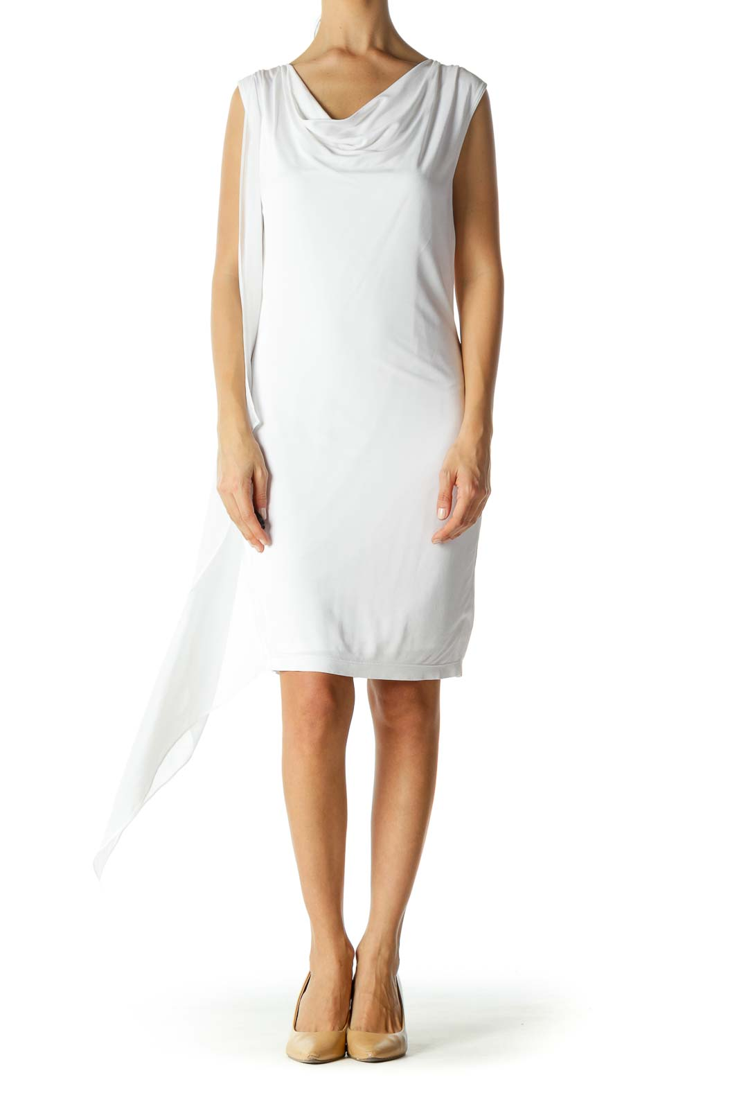 Bright White Cowl Neck Mixed-Media Stretch Day Dress