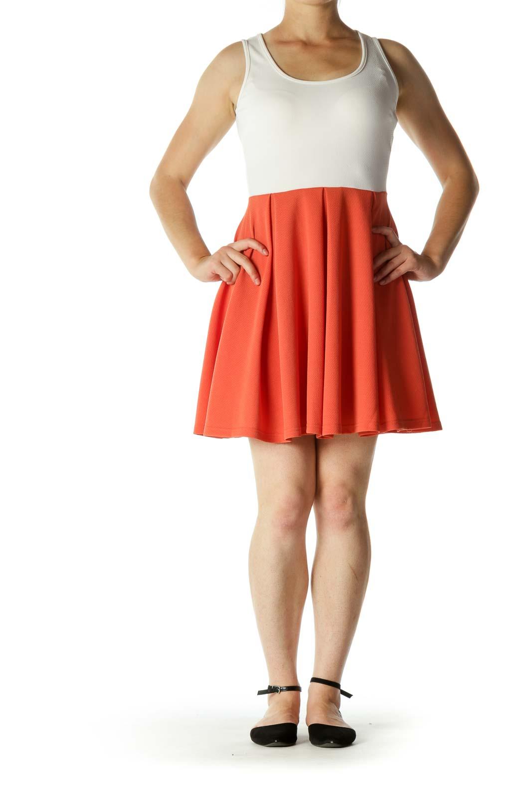 Cream Burnt Orange Textured Stretch A-Line Day Dress