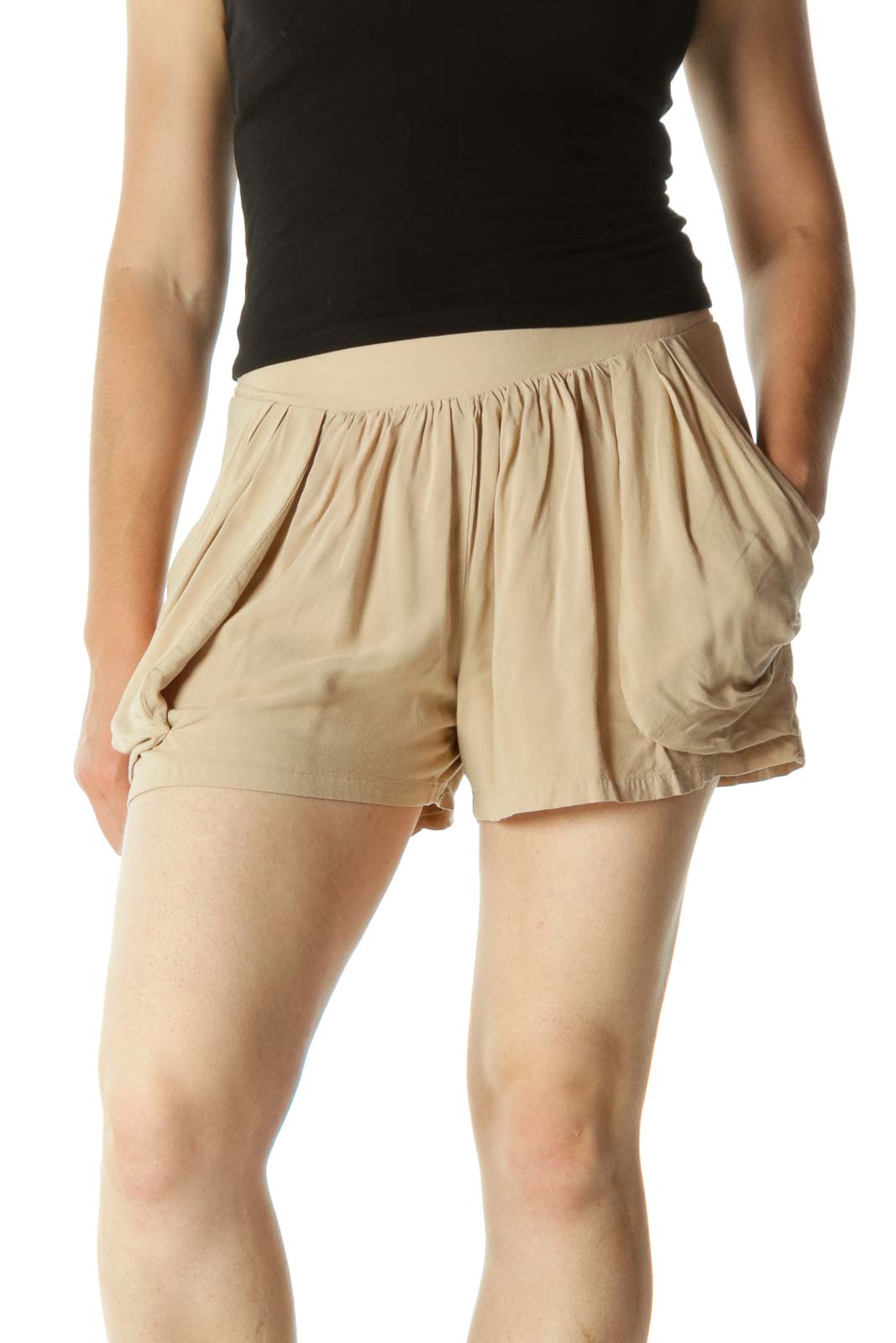 Beige Pocketed with Elastic Band Shorts