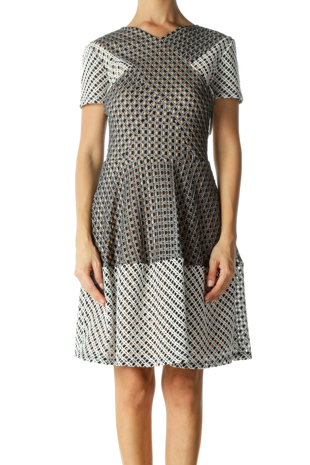 Beige Black White Mixed-Textured-Knit Flared Cocktail Dress