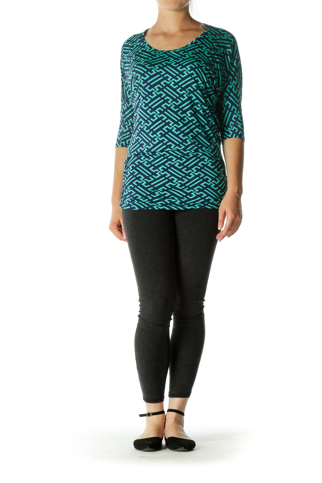 Green Blue Pattern Bat-Sleeves T-shirt