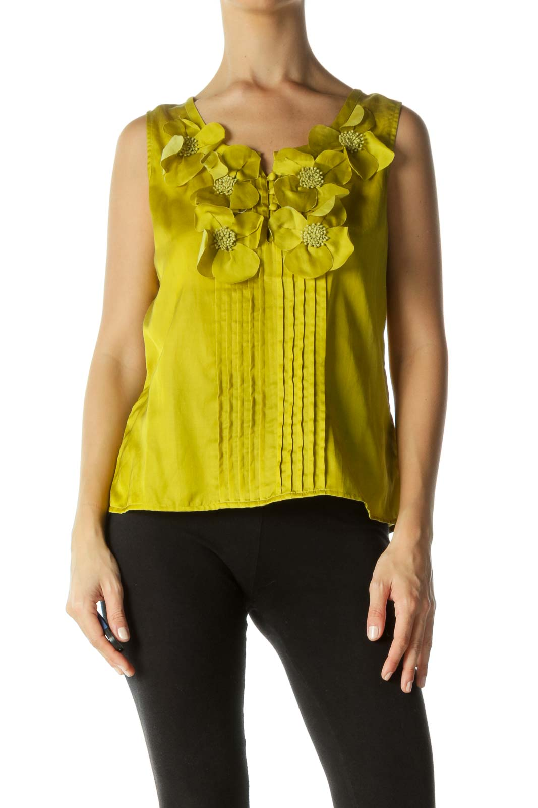 Yellow Pleated Buttoned Blouse