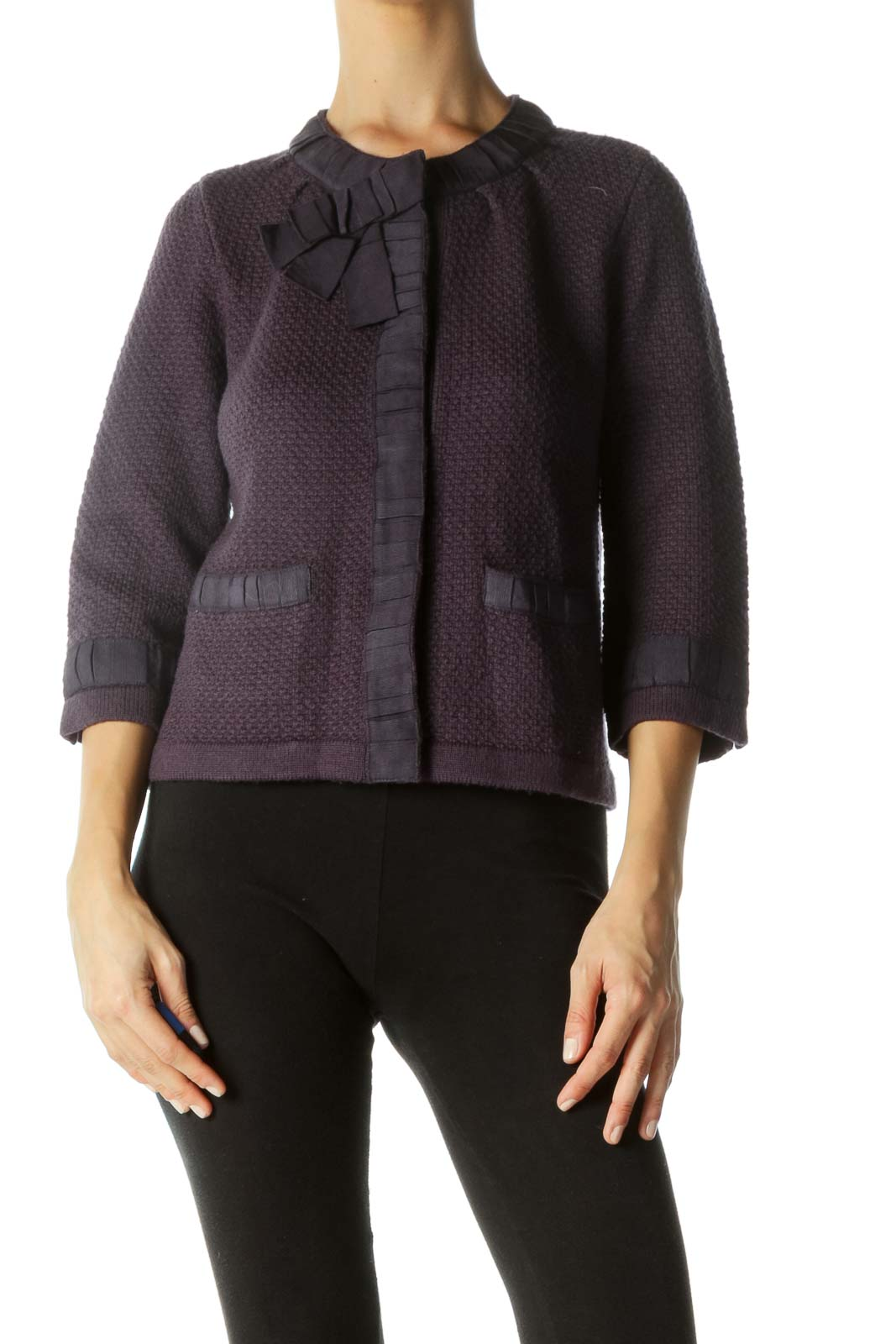 Purple Bow Neck Detail Snap Buttons Pocketed Knit Blazer