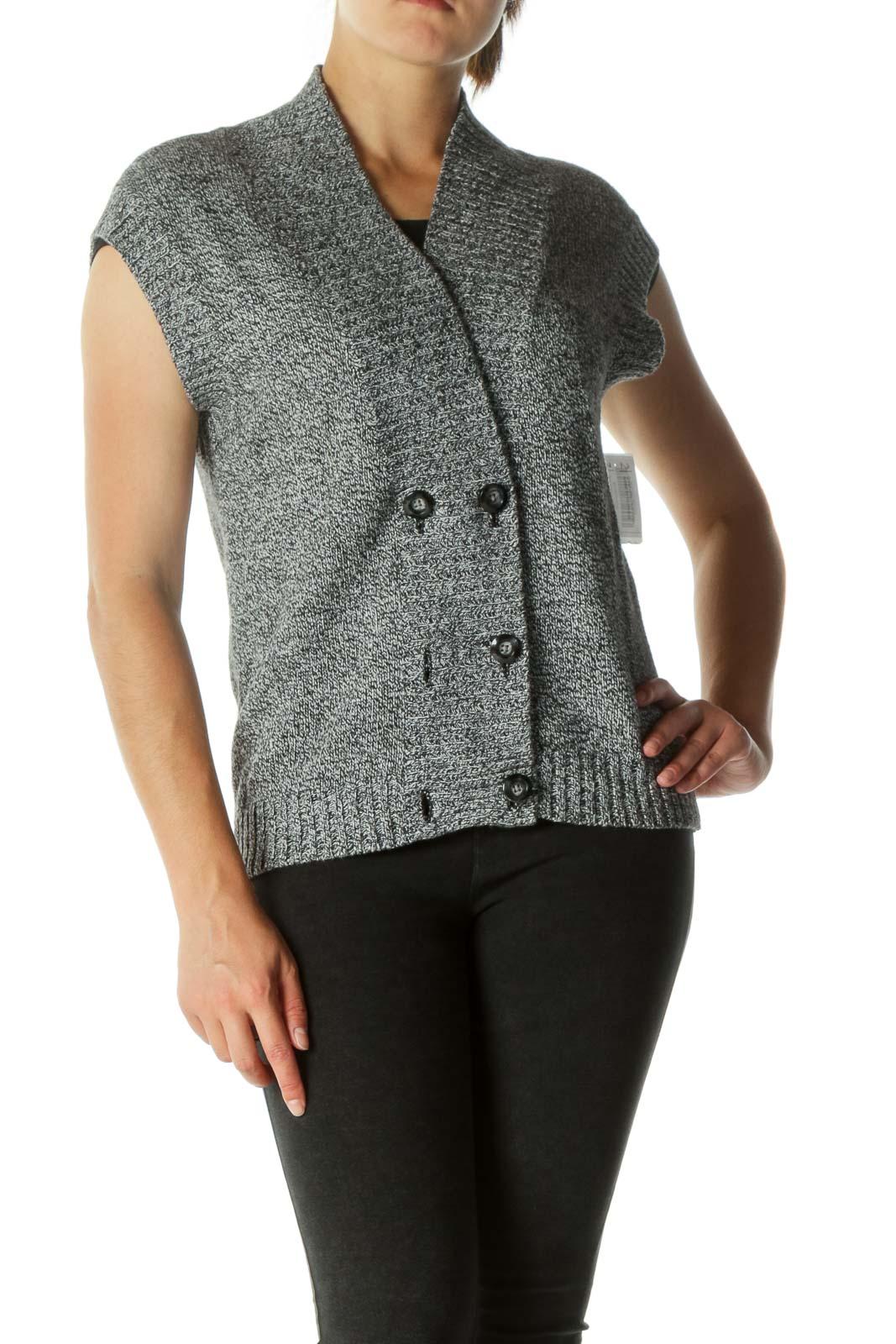 Black White Buttoned Knit Vest