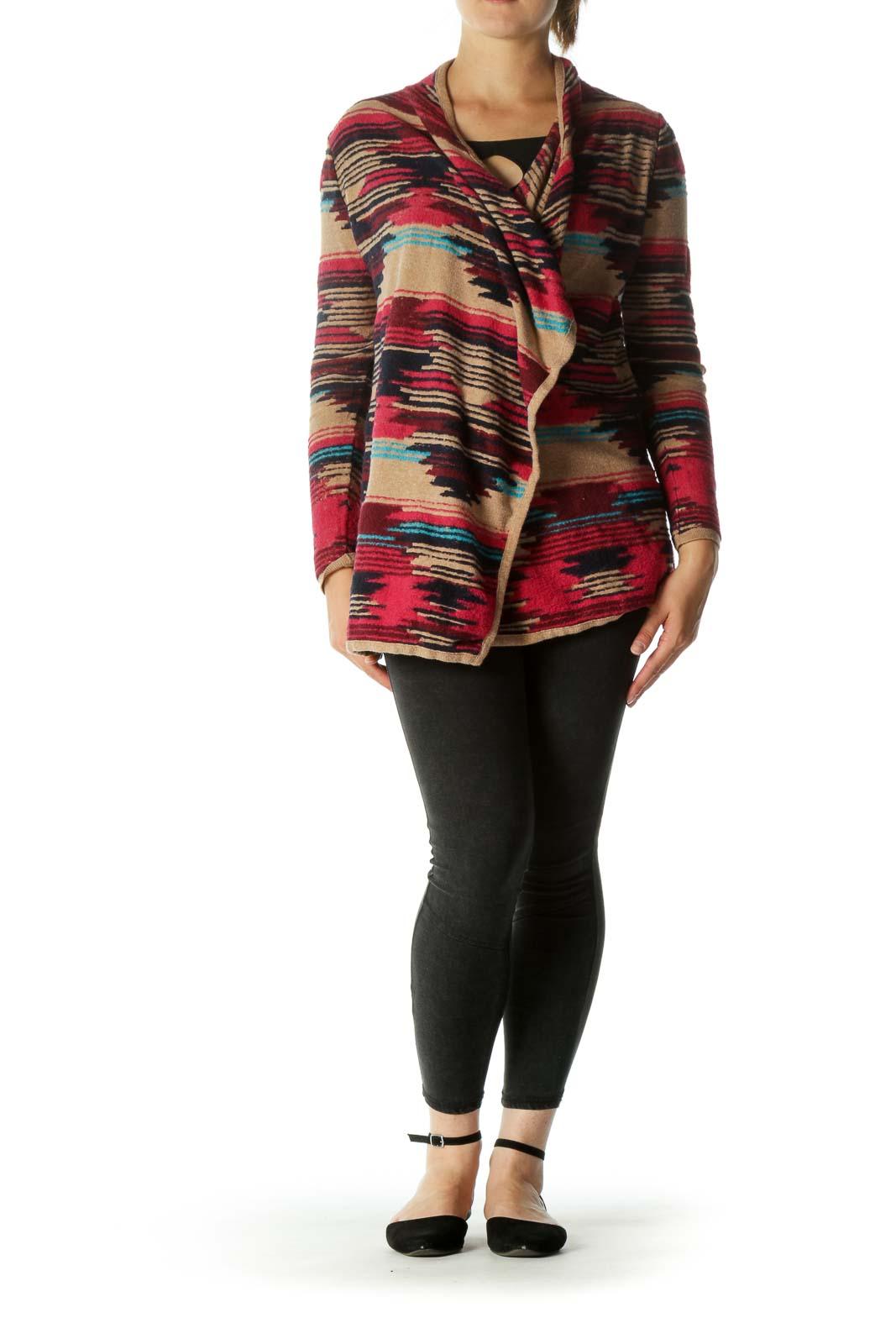 Pink Blue Beige Tribal Texture Open Knit Sweater