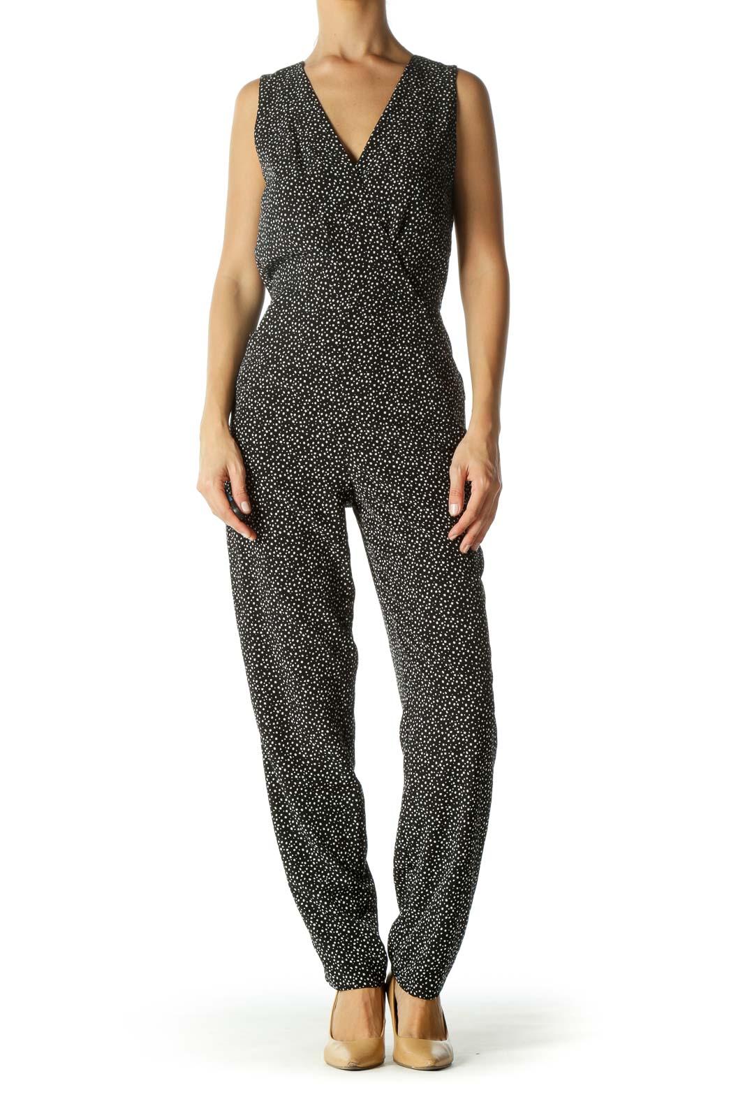 Black White Spots Print V-Neck Surplice Pocketed Jumpsuit