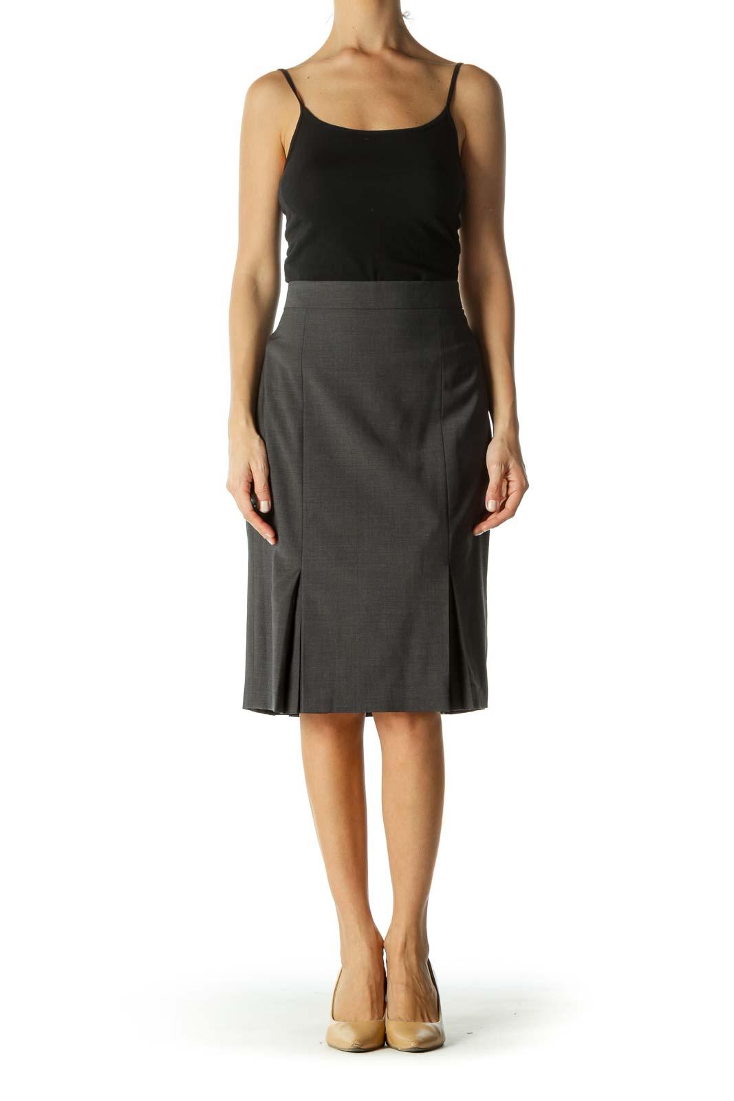 Gray Pleated Knee-Length Pleated Skirt