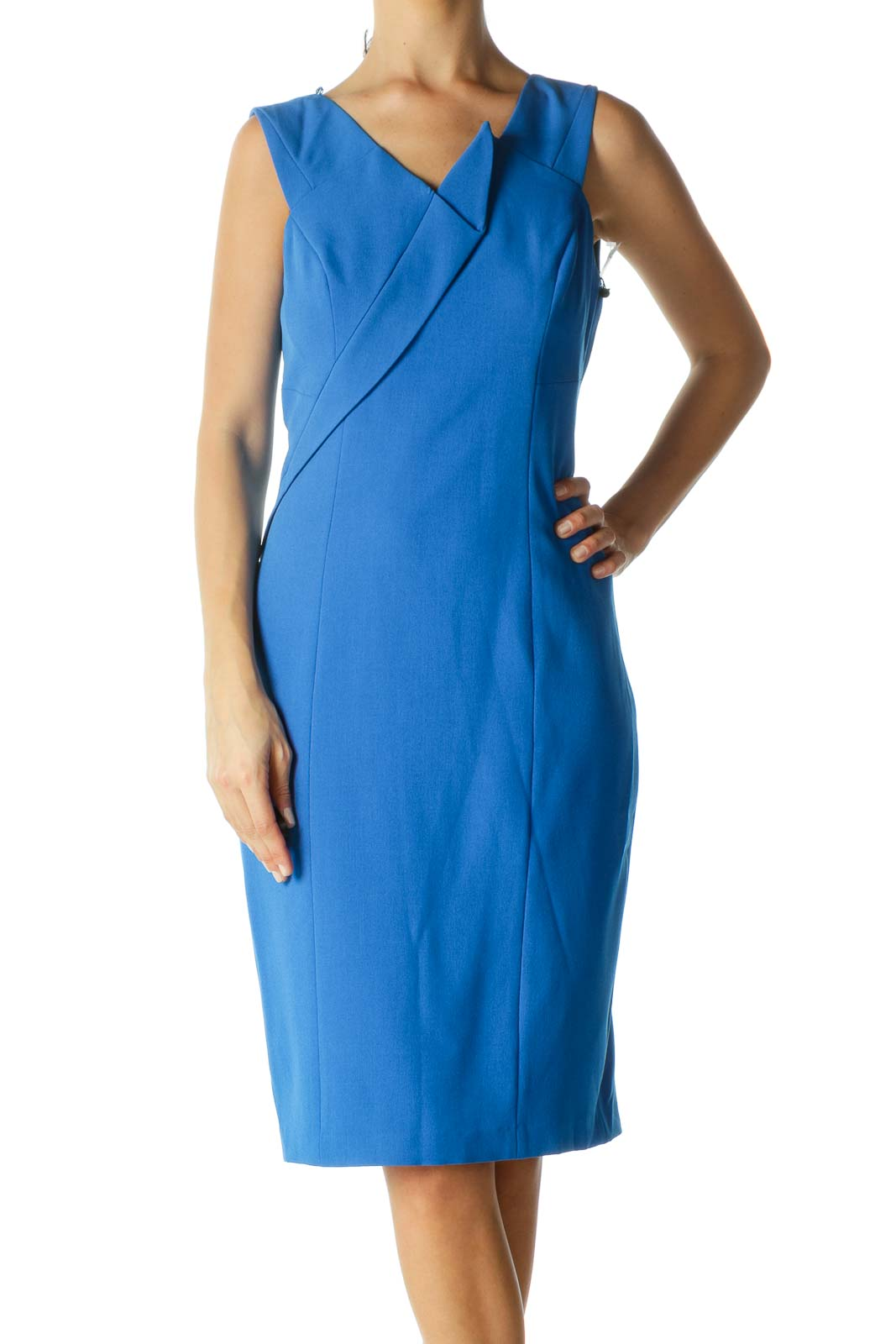 Blue V Neck Work Dress