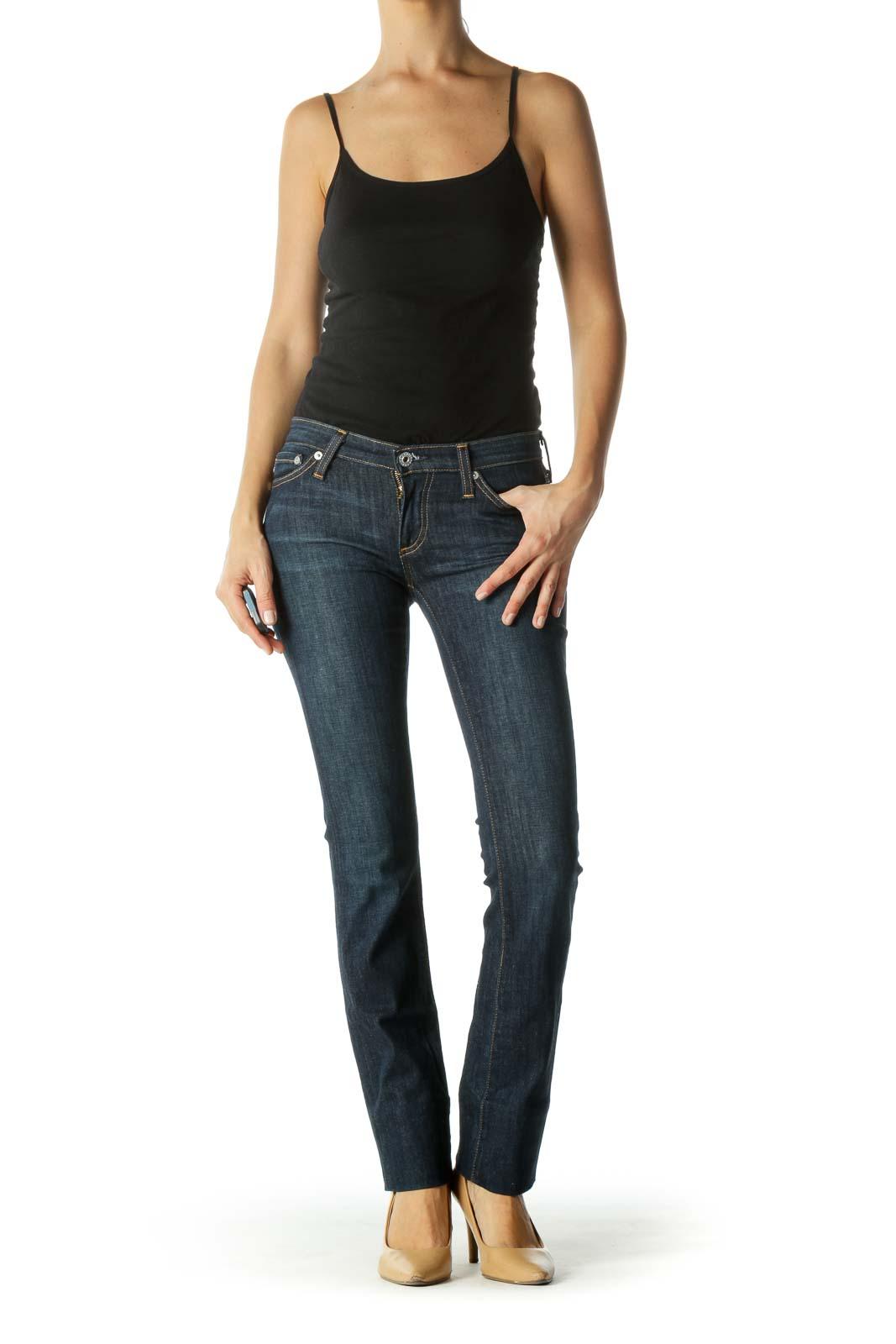 Blue Dark-Wash Slim Stretch Denim Jeans