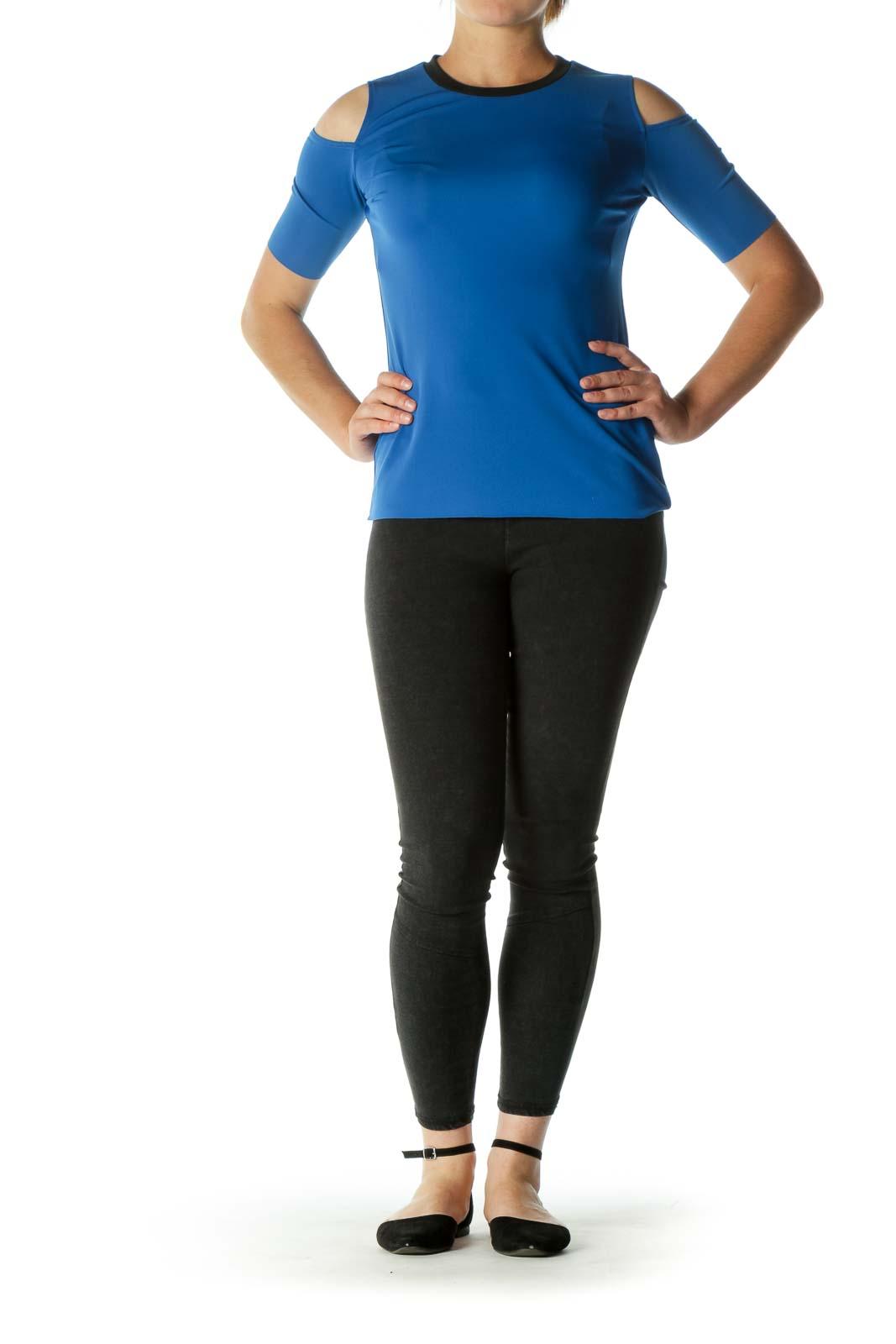 Navy Open-Shoulder Elastic T-shirt