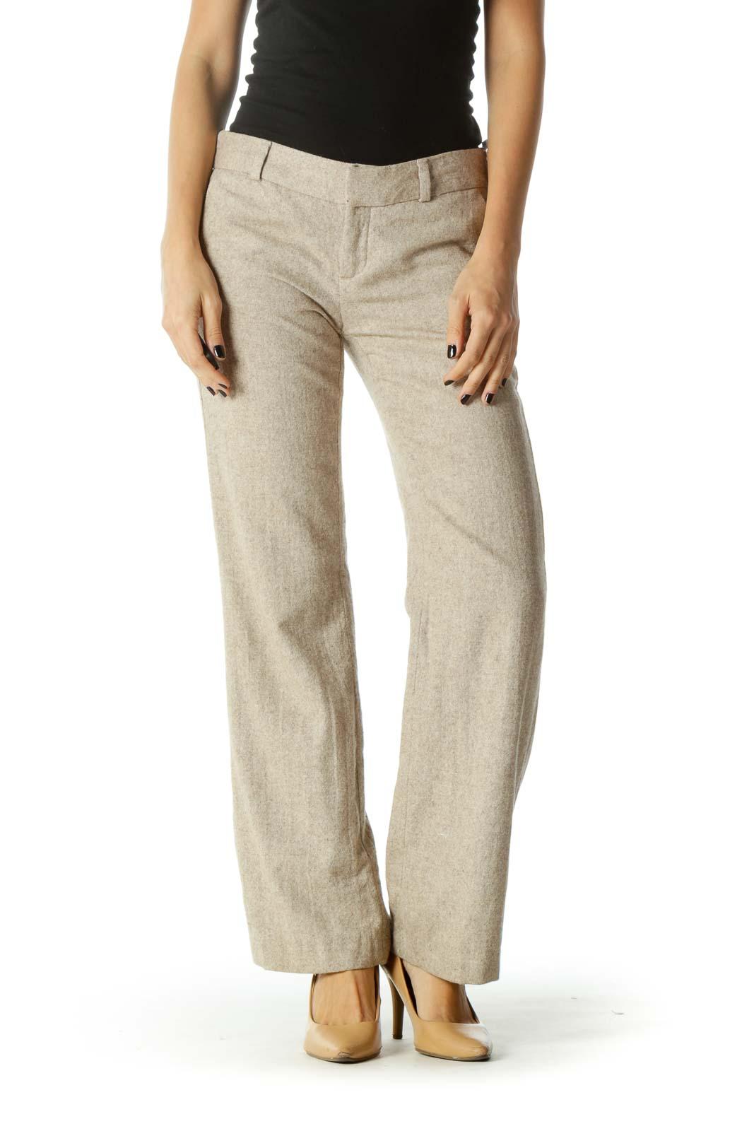 Cream Adjustable Waist Pocketed Straight Leg Pants