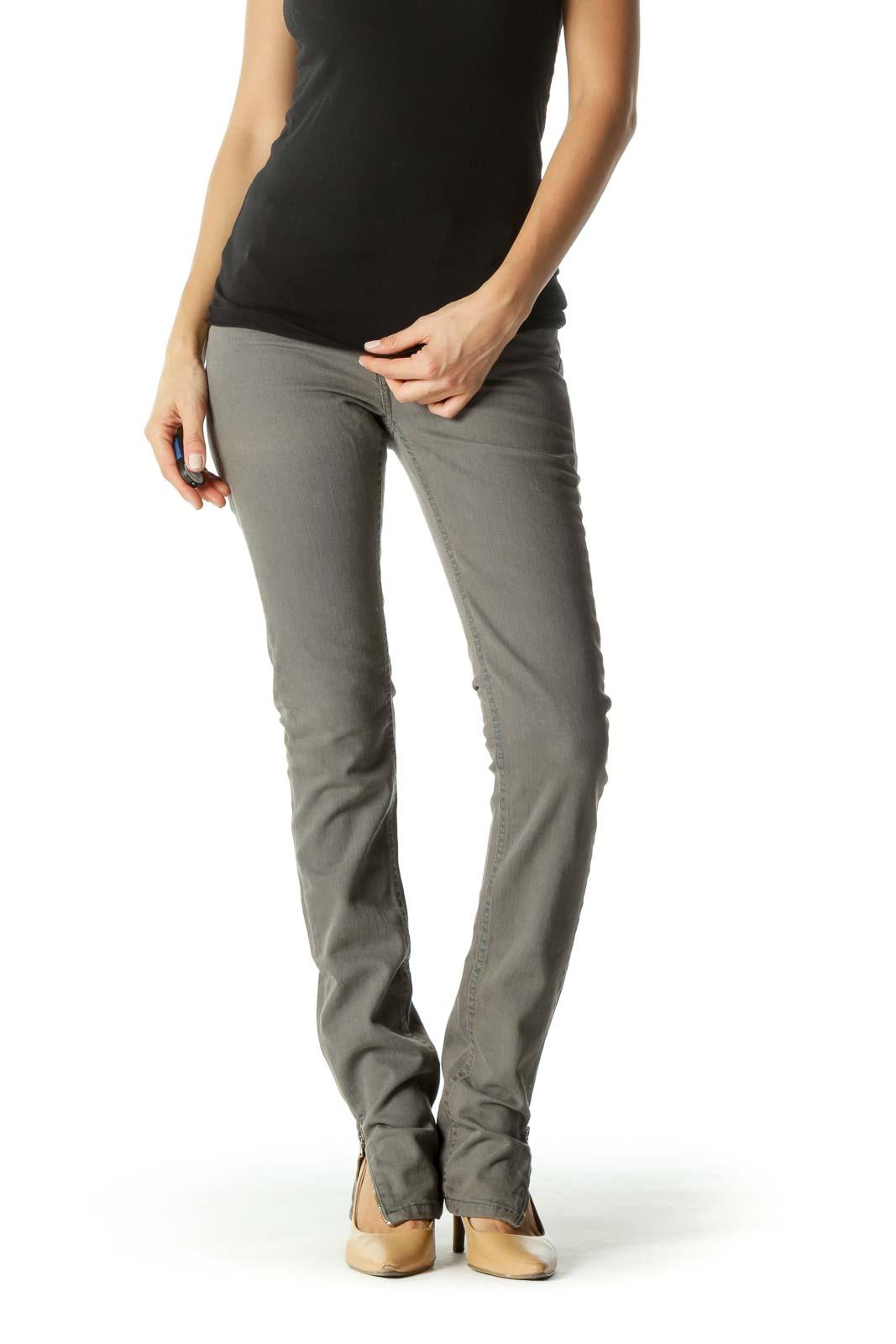 Gray Ankle Zippers Back Pocket Applique Slim Denim Pants