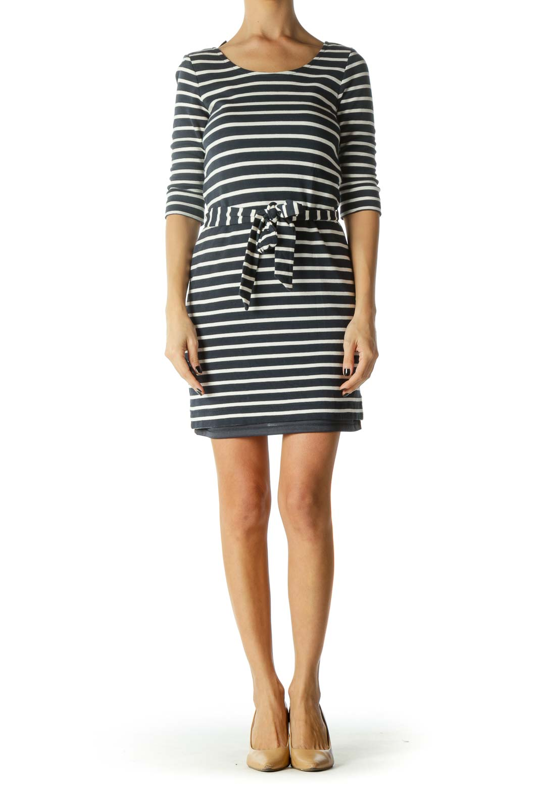 Navy & White Zippered Waist-Tie Stretch Dress