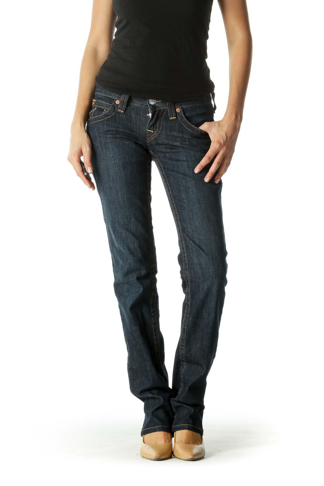 Blue Dark-Wash Pocketed Straight Leg Denim Jeans