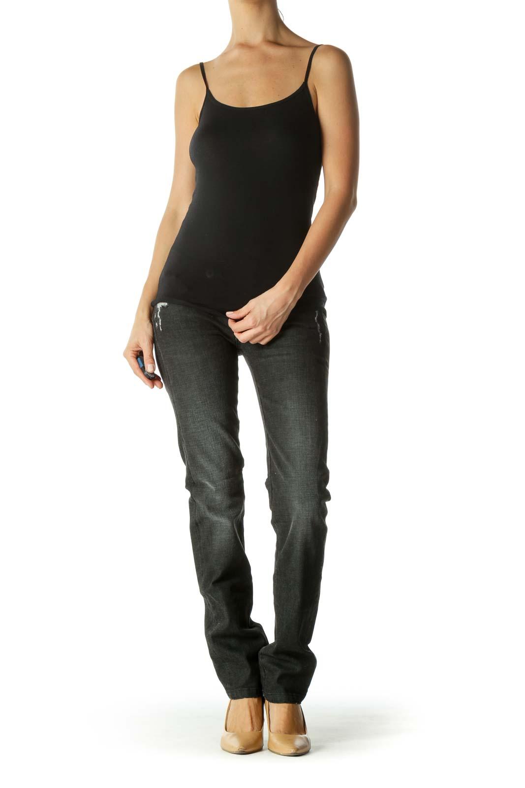 Gray Black Contrasting Applique Detail Distressed Denim Pants