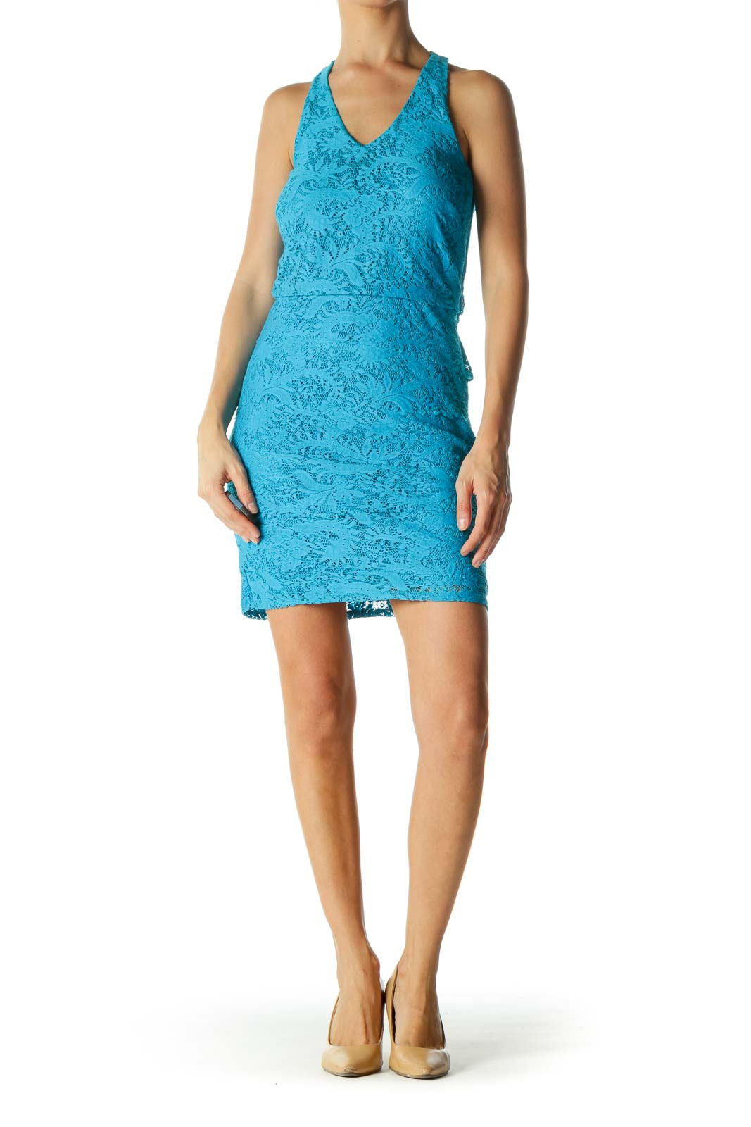 Bright Blue Layered Lace Mini Dress