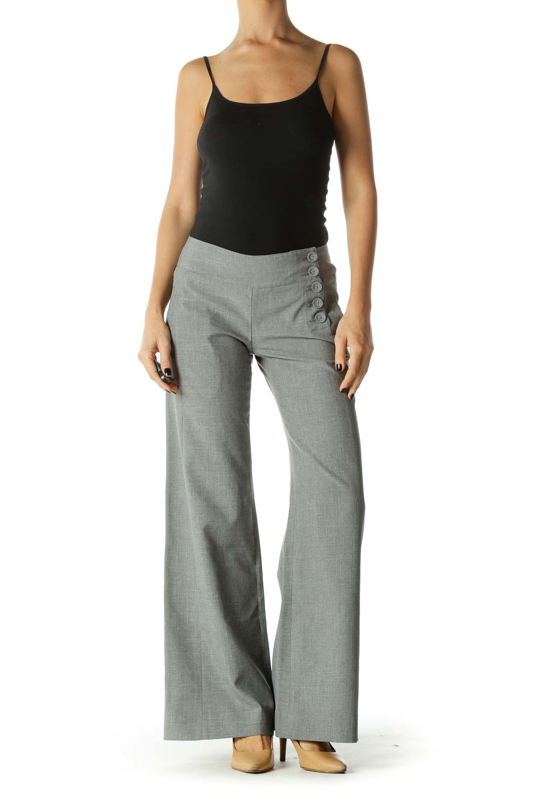Gray Buttoned Details Wide Leg Pants