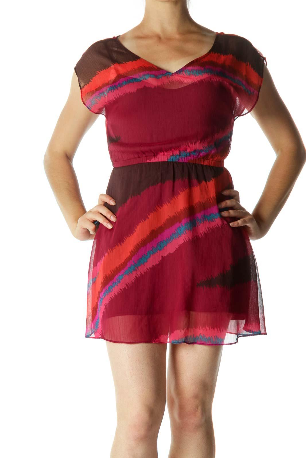 Multicolor V-neck Printed Dresss