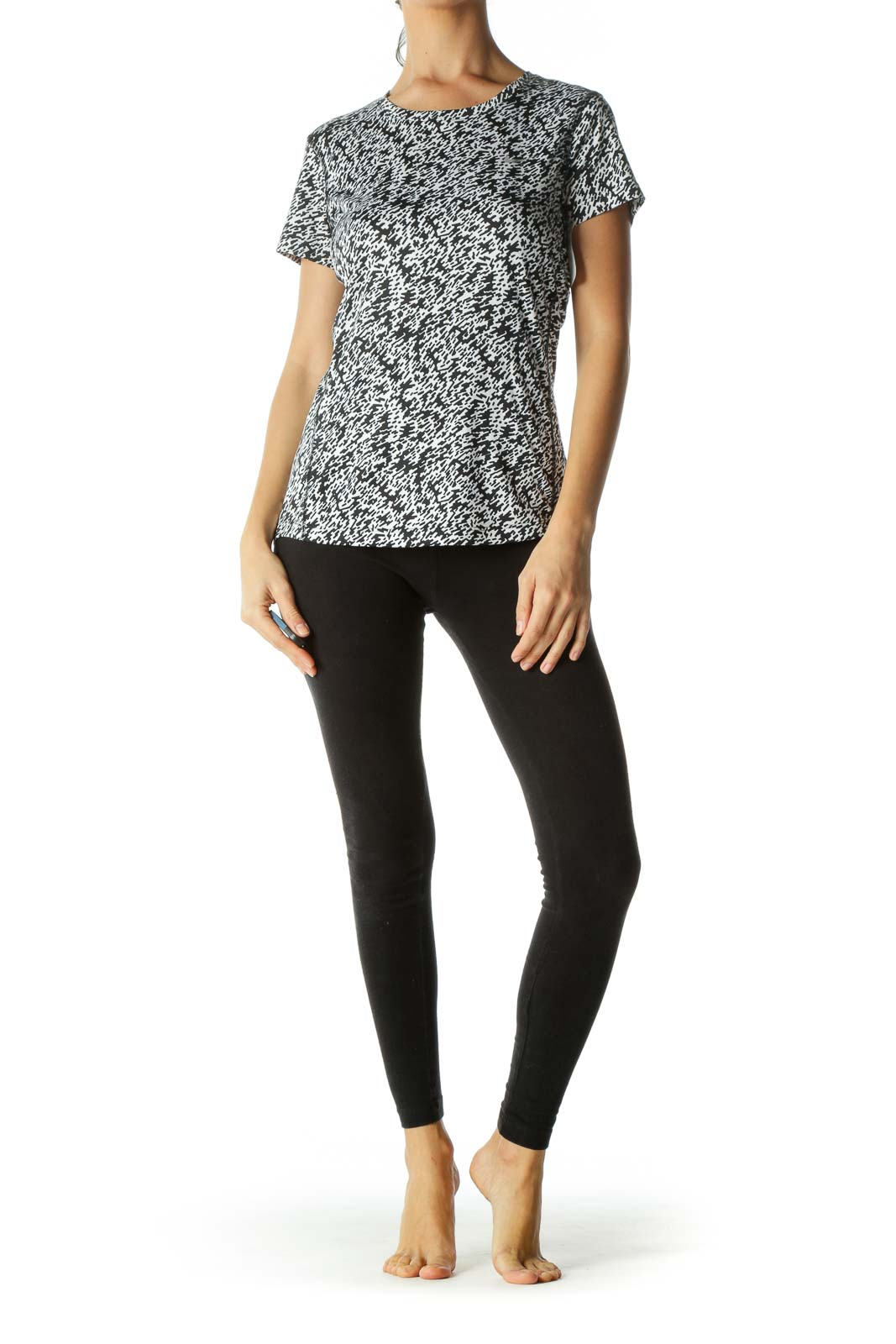 Black White Pattern Sporty Top
