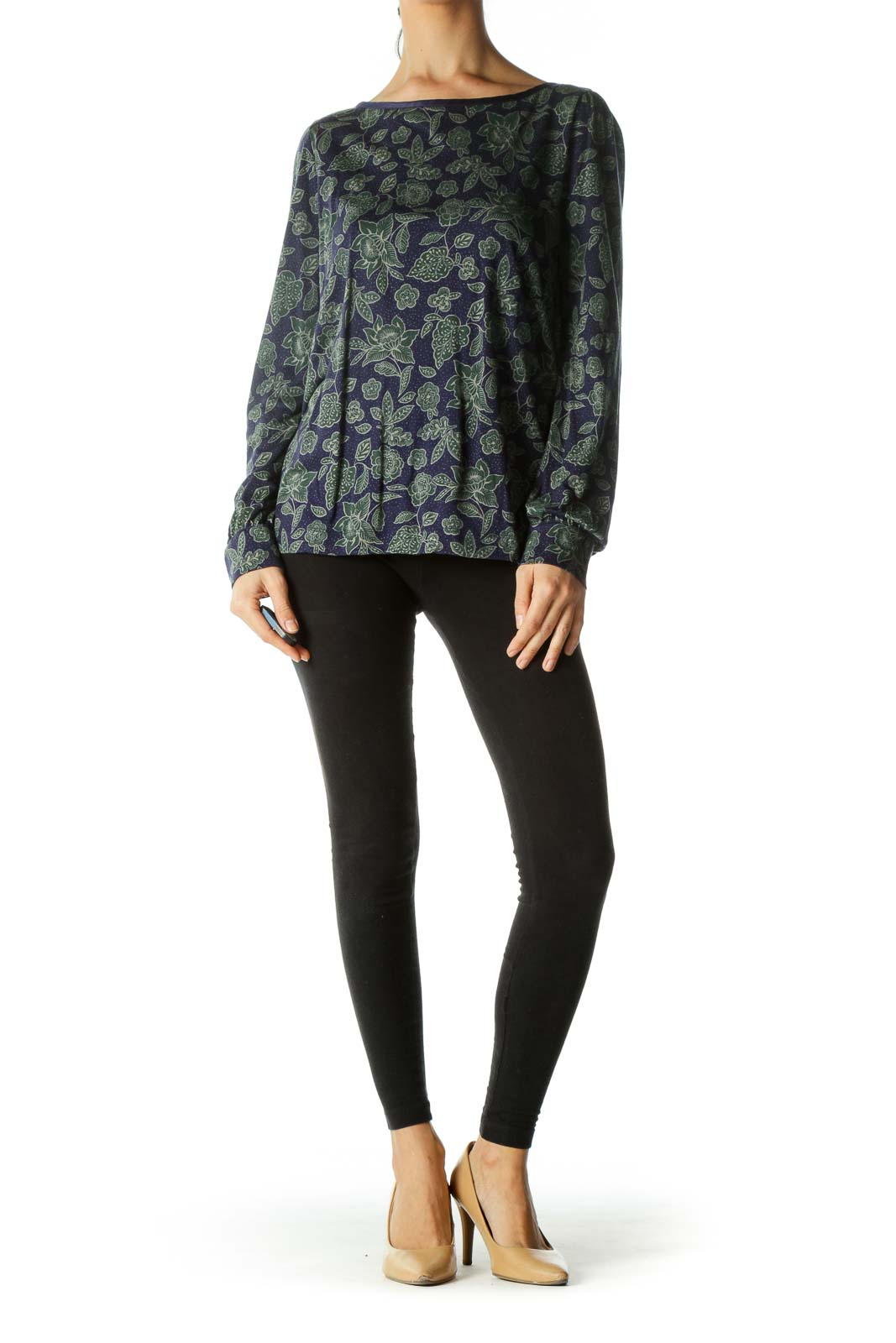 Purple Green Leaf Print Long Sleeves T-shirt