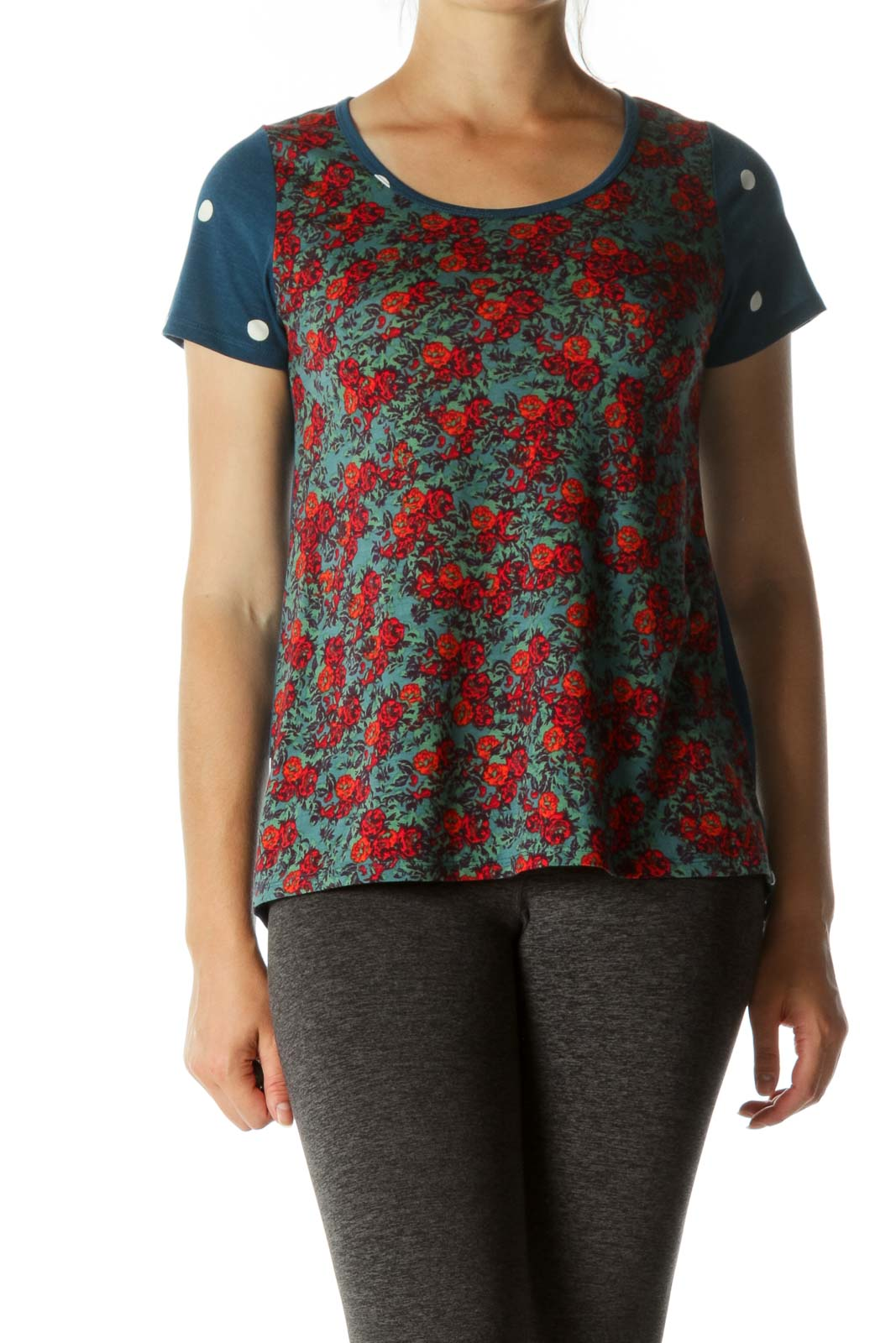 Red Floral & Blue Polka Dots Short Sleeve T-shirt