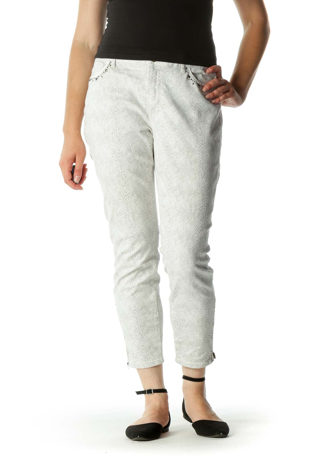 White Gray Studded Zipper Details Stretch Skinnt Pants