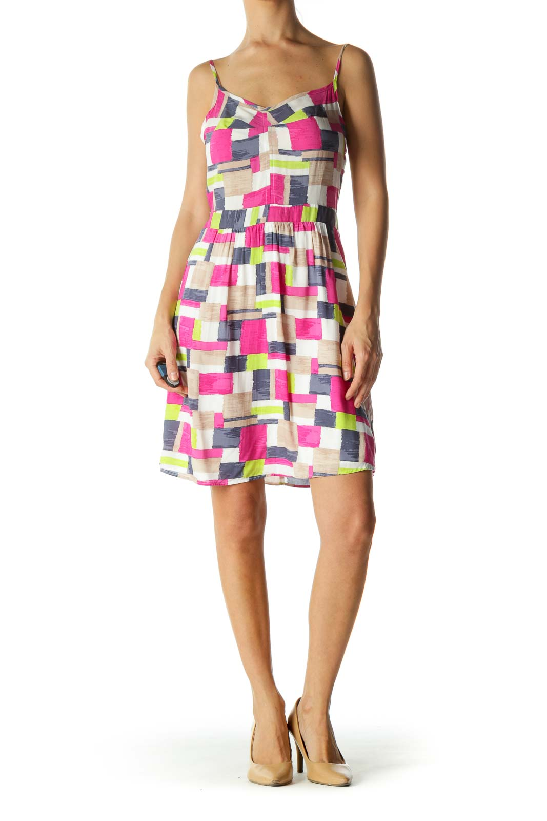Multicolor Geo Pattern Cami Dress