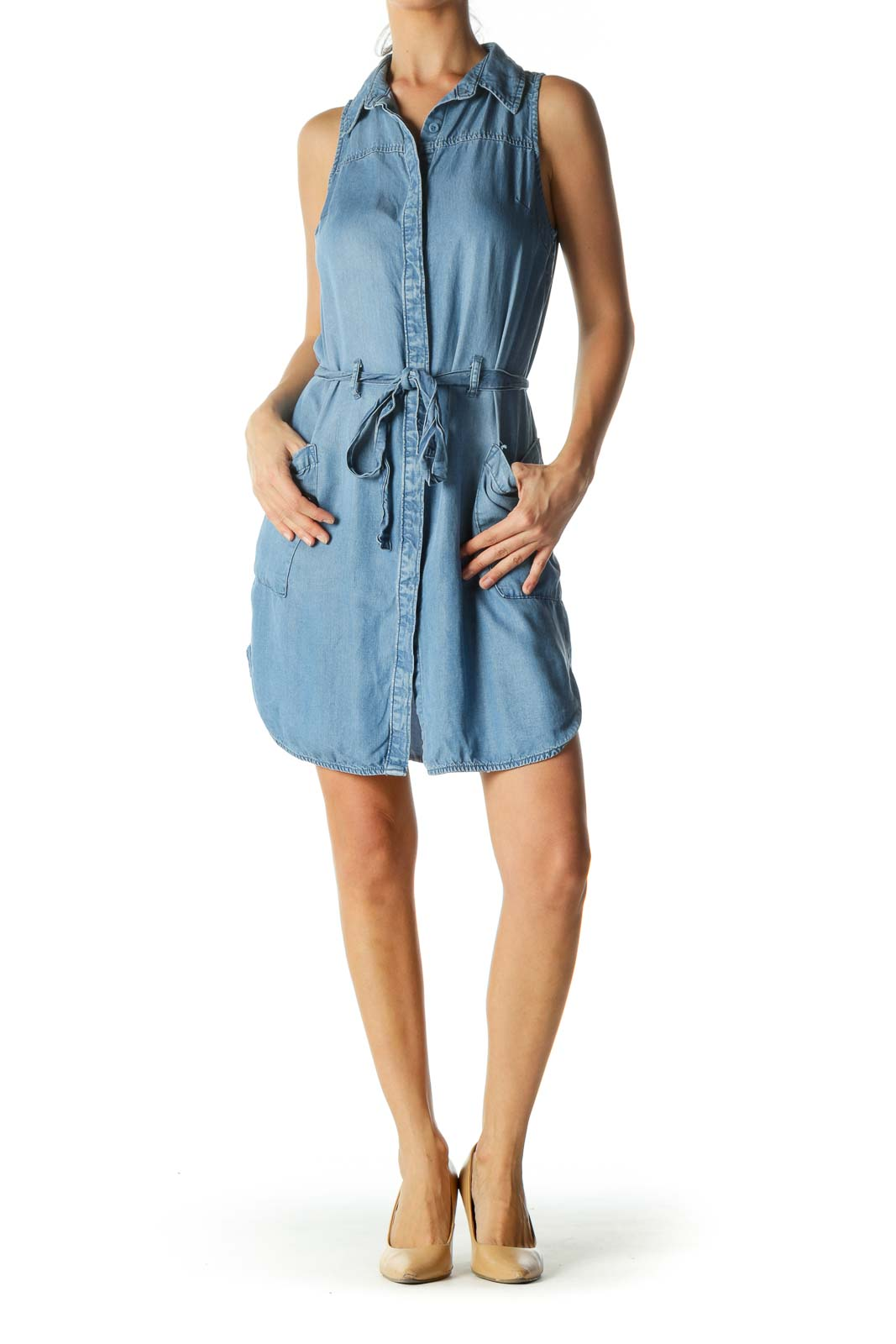 Denim Blue Waist-Tie Vest Dress