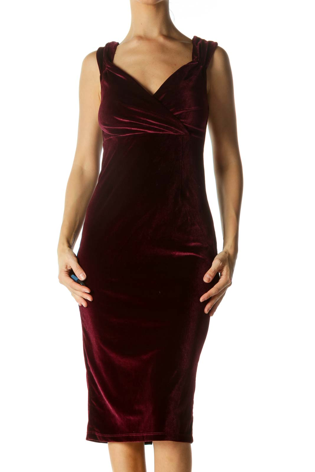 Burgundy Velvet Fitted Cocktail Midi Dress