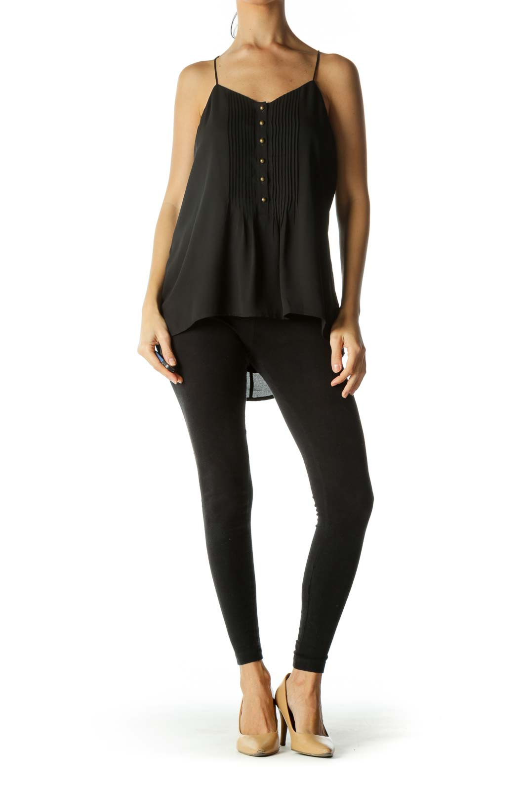 Black V-Neck Pleated Buttoned Top