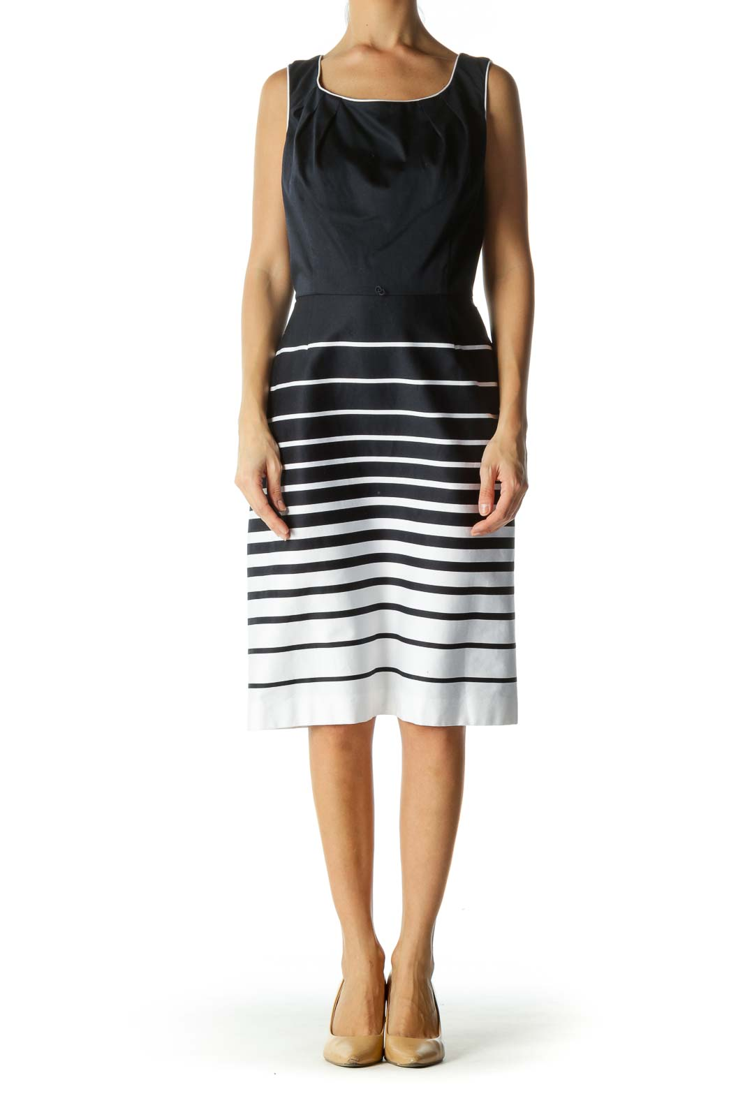 Navy White Striped Midi Day Dress