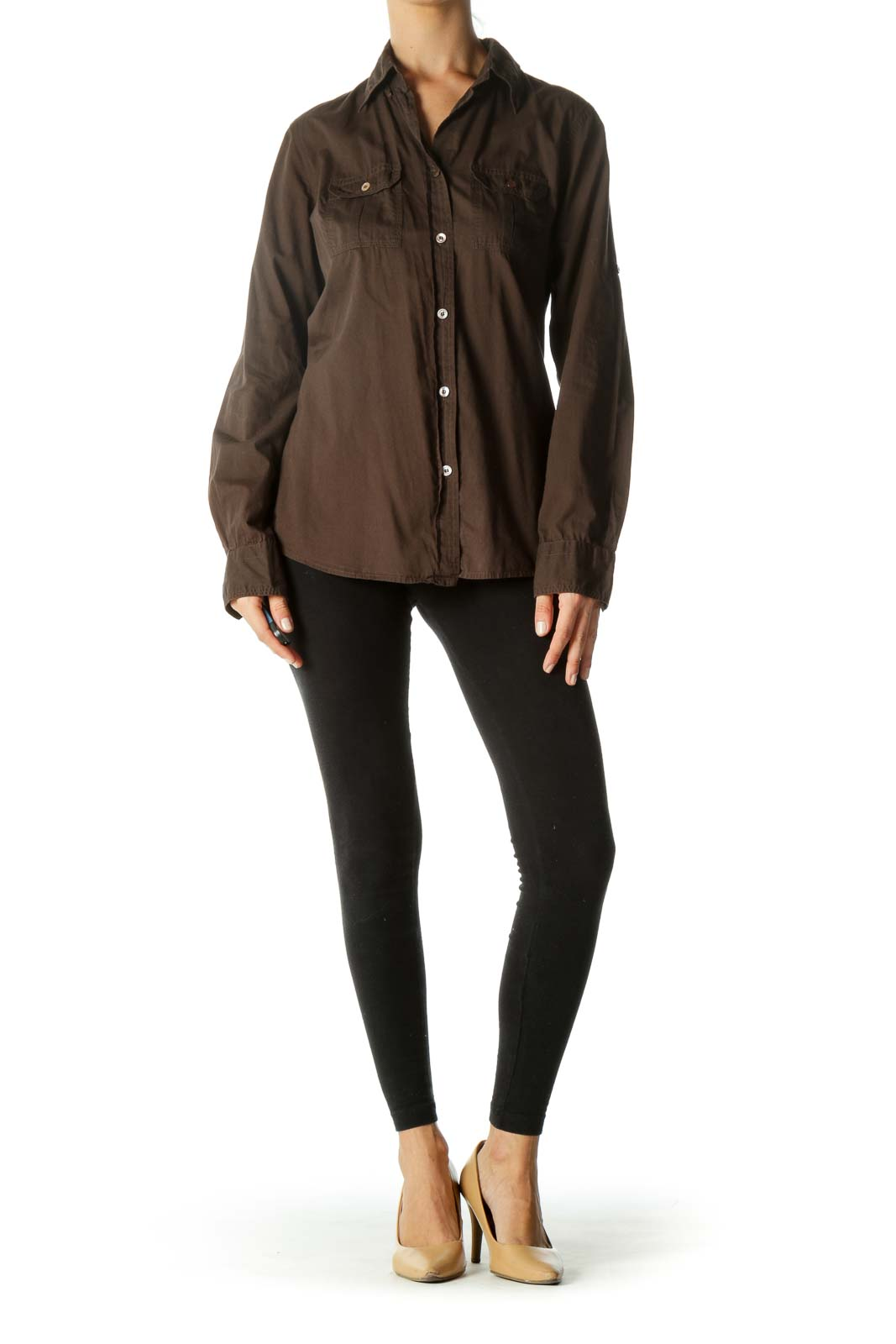 Brown 100% Cotton Pocketed Buttoned Stretch Shirt