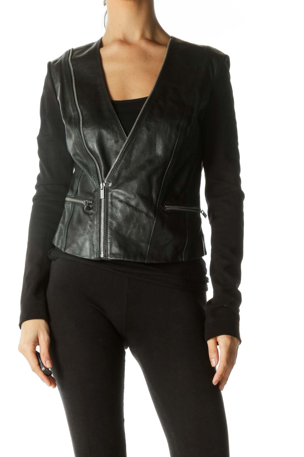 Black Zippered Mix Media Leather Jacket
